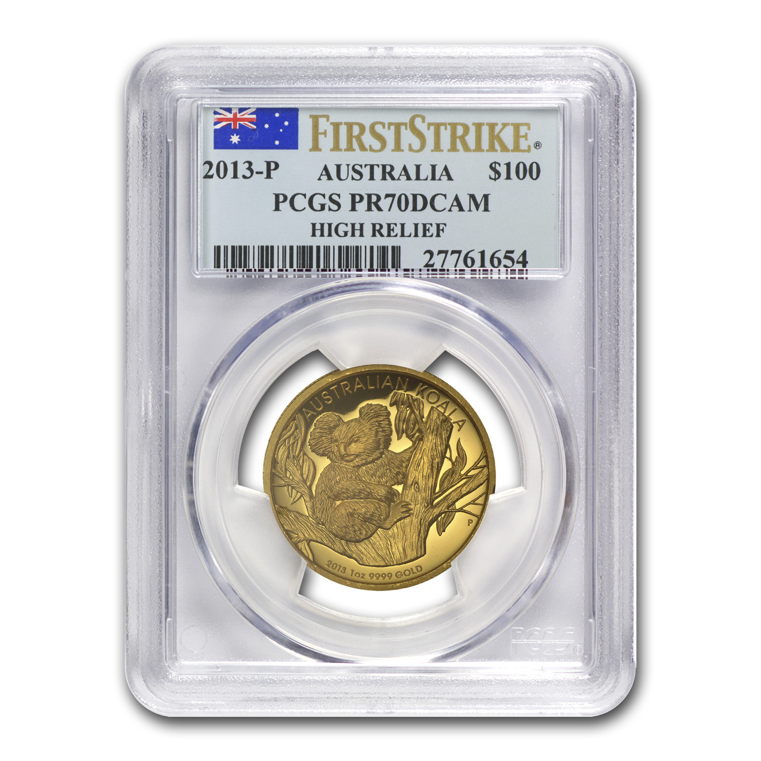 2013-P Australia 1 oz Gold Koala PR-70 PCGS (FS, High Relief)