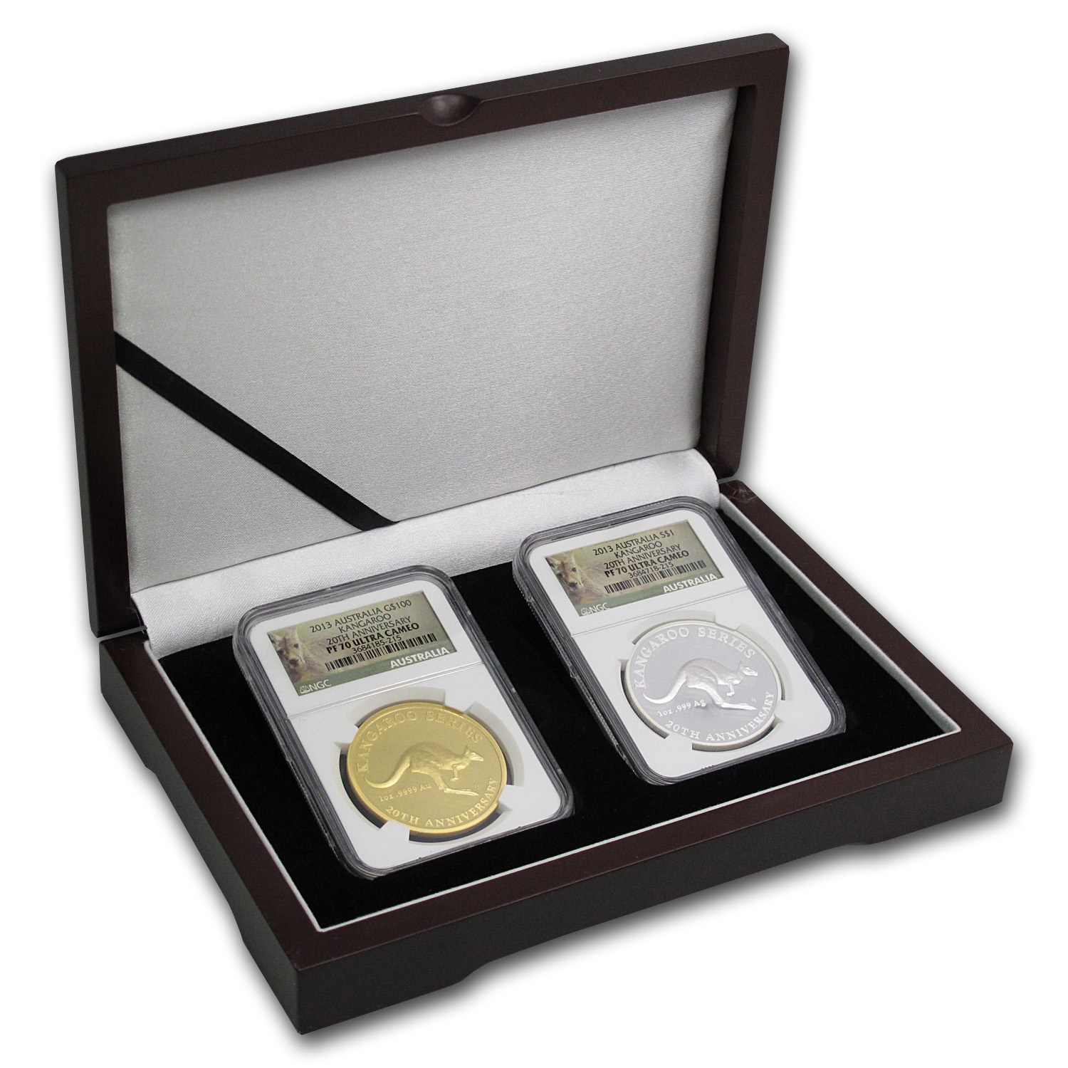 2013 Australia 2-Coin Gold/Silver 20th Ann Kangaroo Set PF-70 NGC