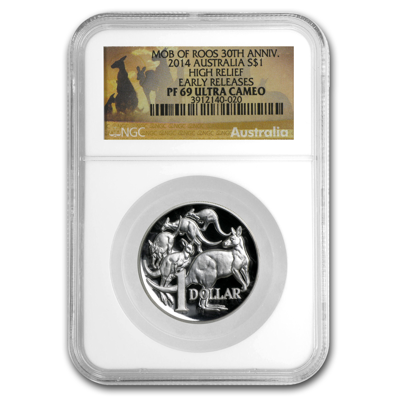 2014 1 oz Silver High Relief Kangaroo PF-69 NGC (30th Anniv)