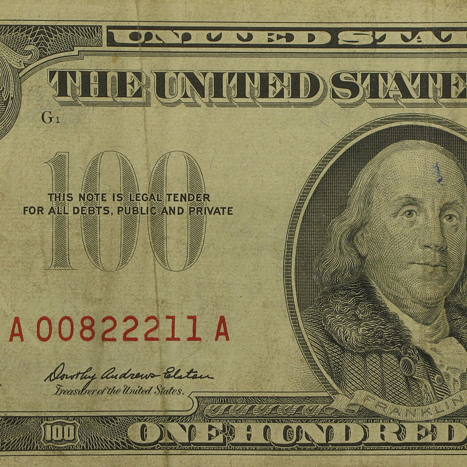 1966-A $100 U. S. Note Red Seal Fine