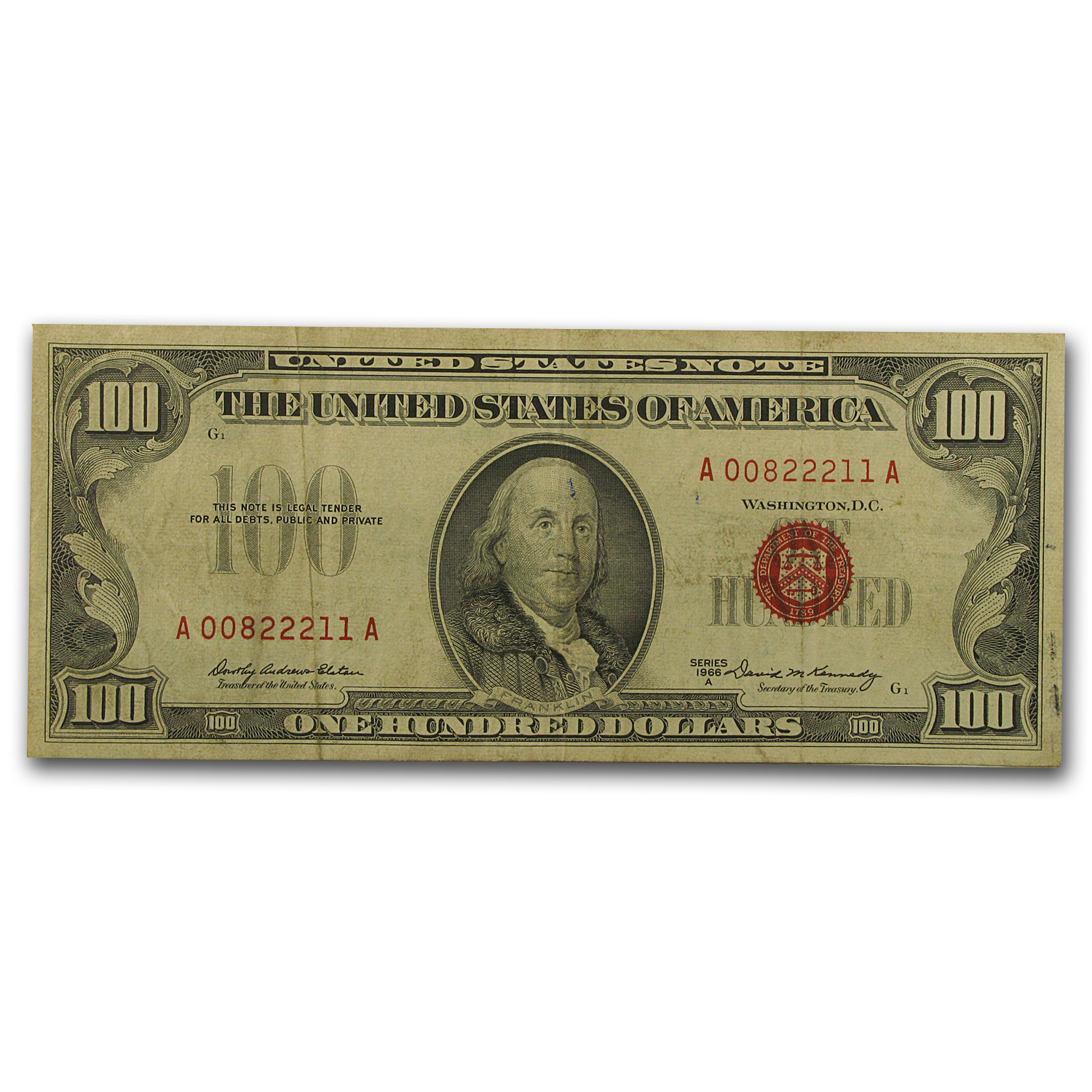 1966-A $100 U. S. Note (Red Seal) Fine