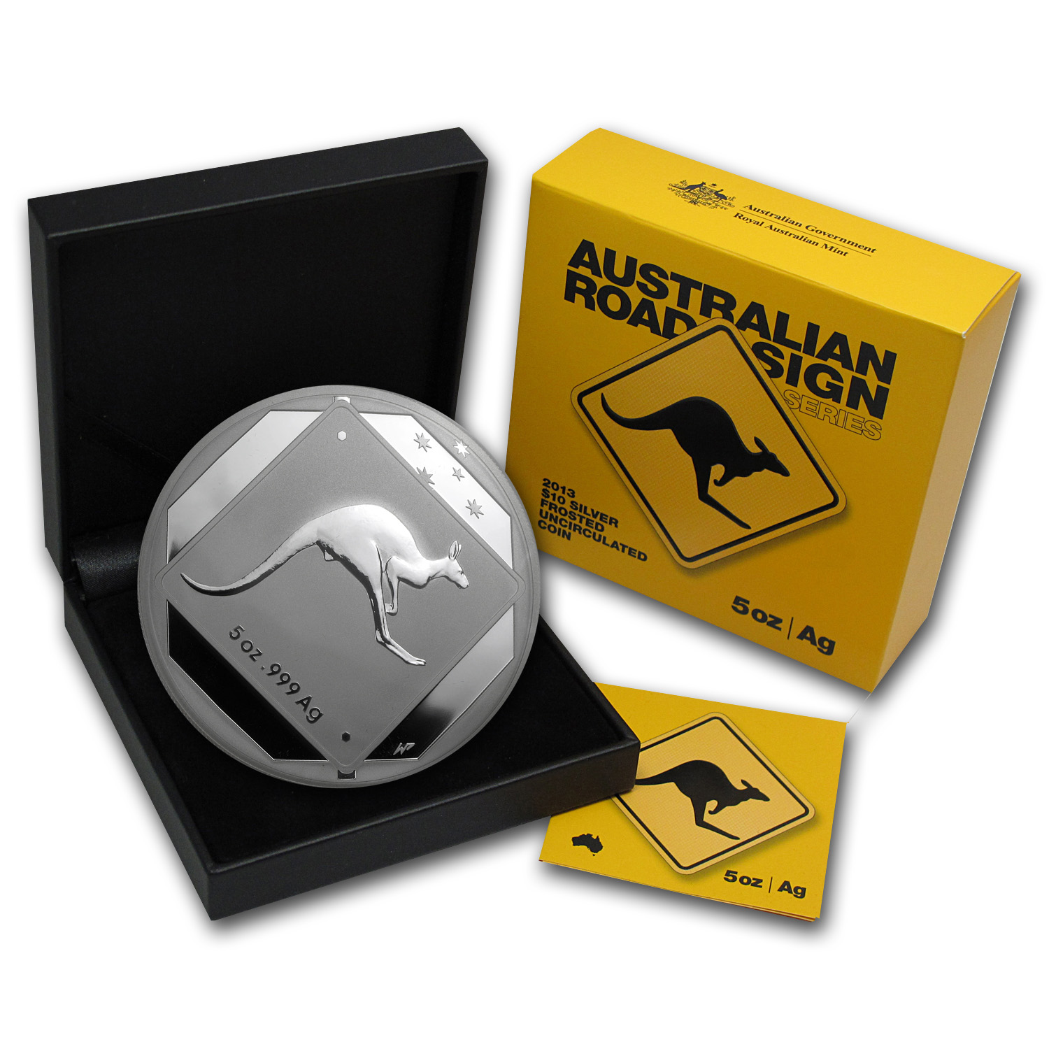 2013 Australia 5 oz Silver Kangaroo Road Sign