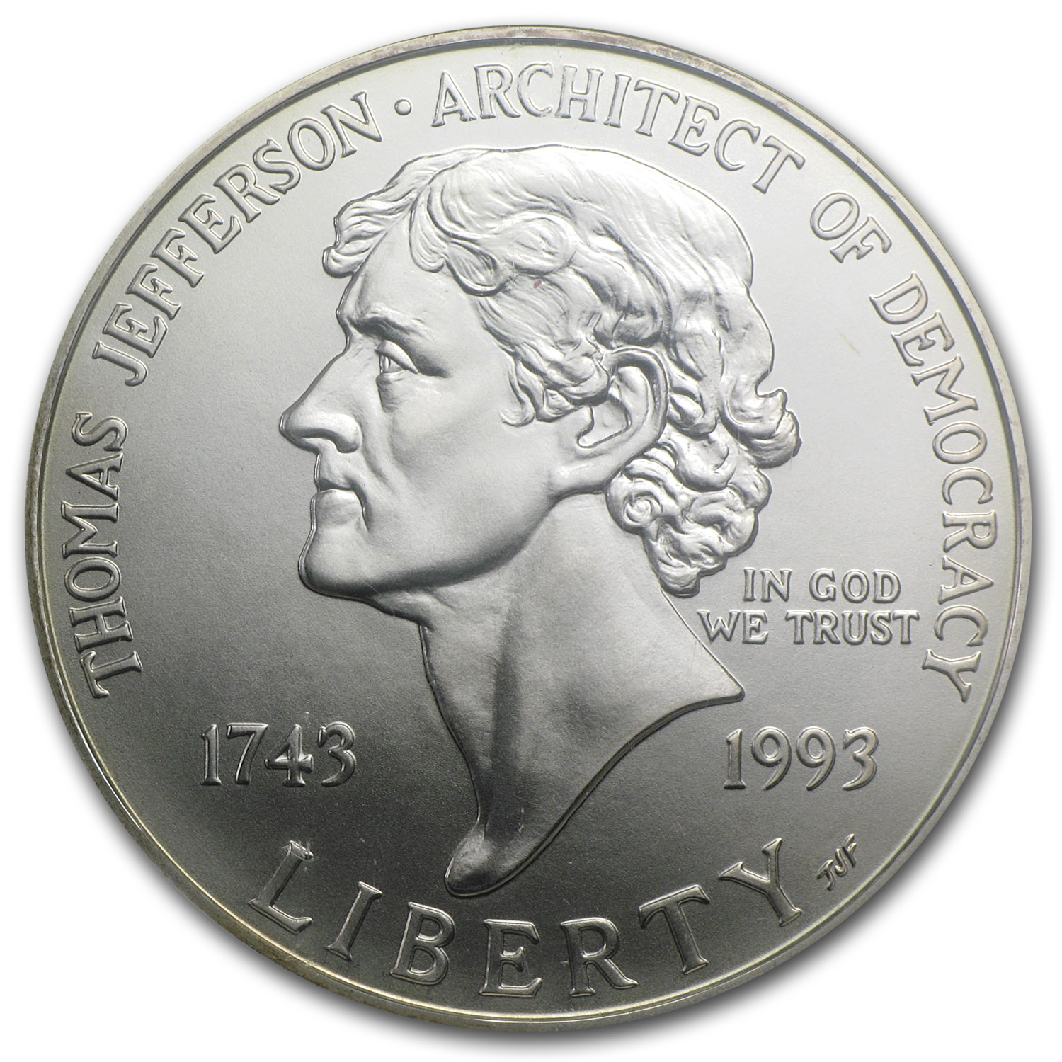 1993-P Jefferson 250th Anniversary $1 Silver Commem - MS-70 NGC