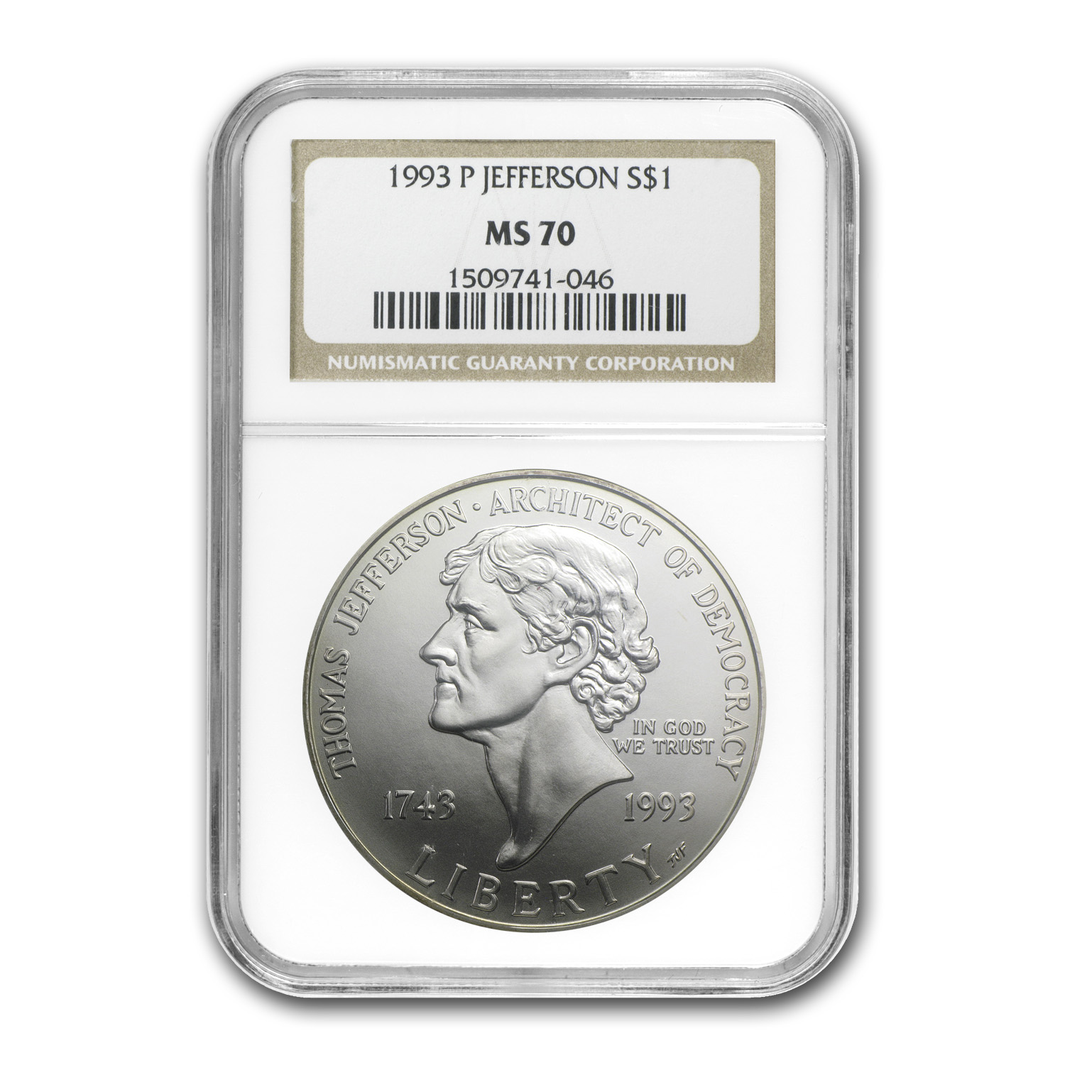 1993-P Jefferson 250th Anniv $1 Silver Commem MS-70 NGC