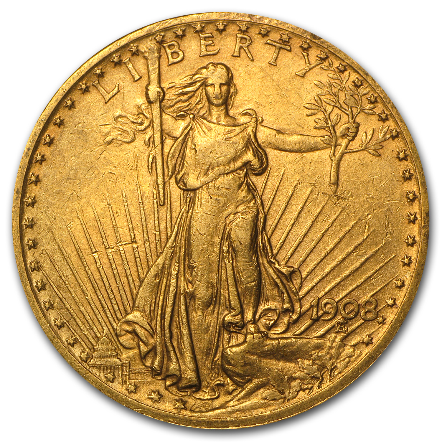 1908 $20 St. Gaudens Gold Double Eagle w/Motto XF