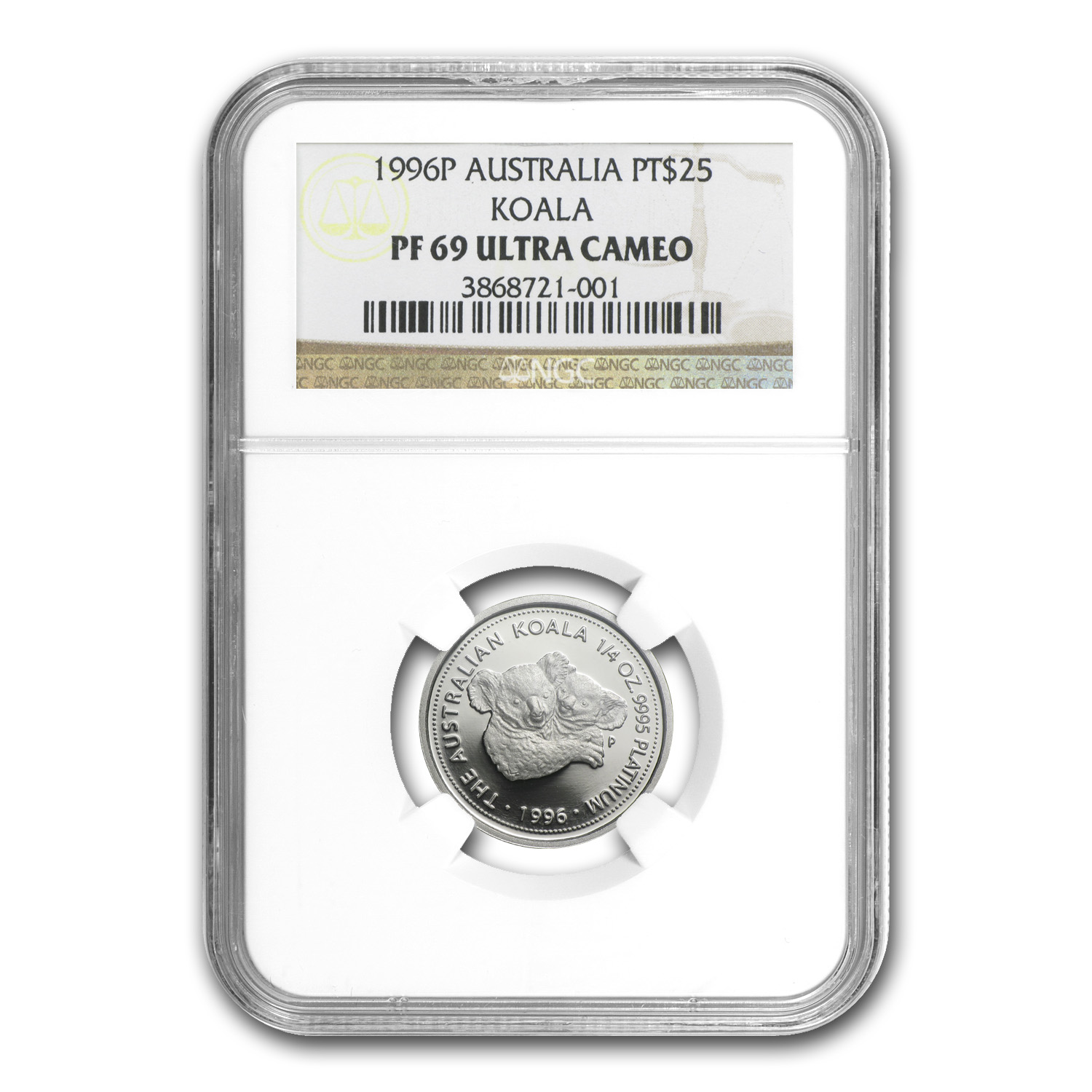 1996 Australia 1/4 oz Proof Platinum Koala PF-69 NGC