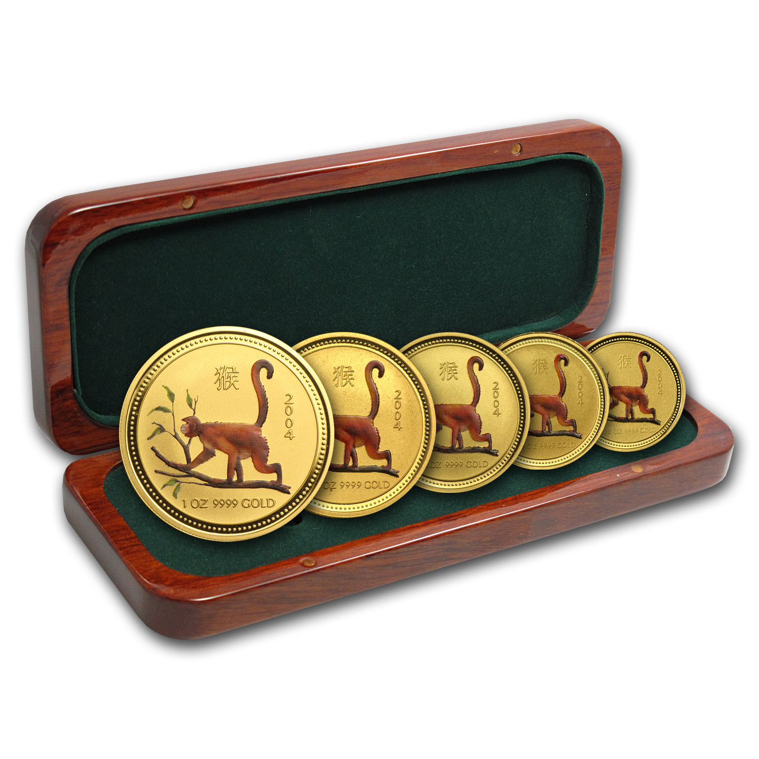 2004 5-Coin Gold Lunar Year of the Monkey Set BU (SI, Colorized)
