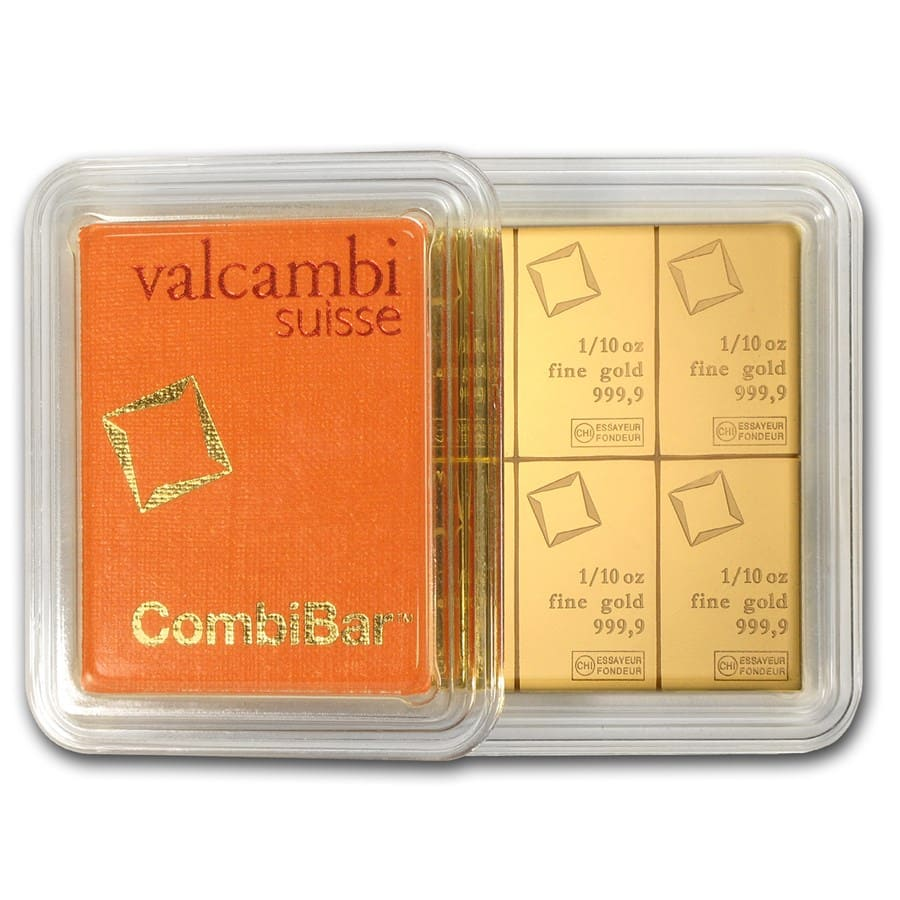 10x 1/10 oz Gold CombiBar™ - Valcambi (In Assay)