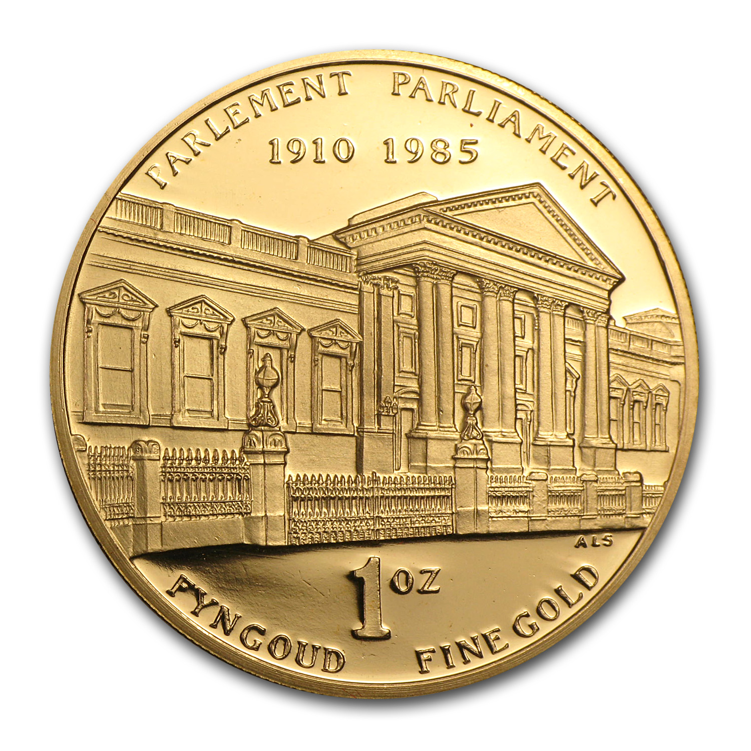 1985 South Africa 1 oz Proof Gold 75th Anniv of Parliament