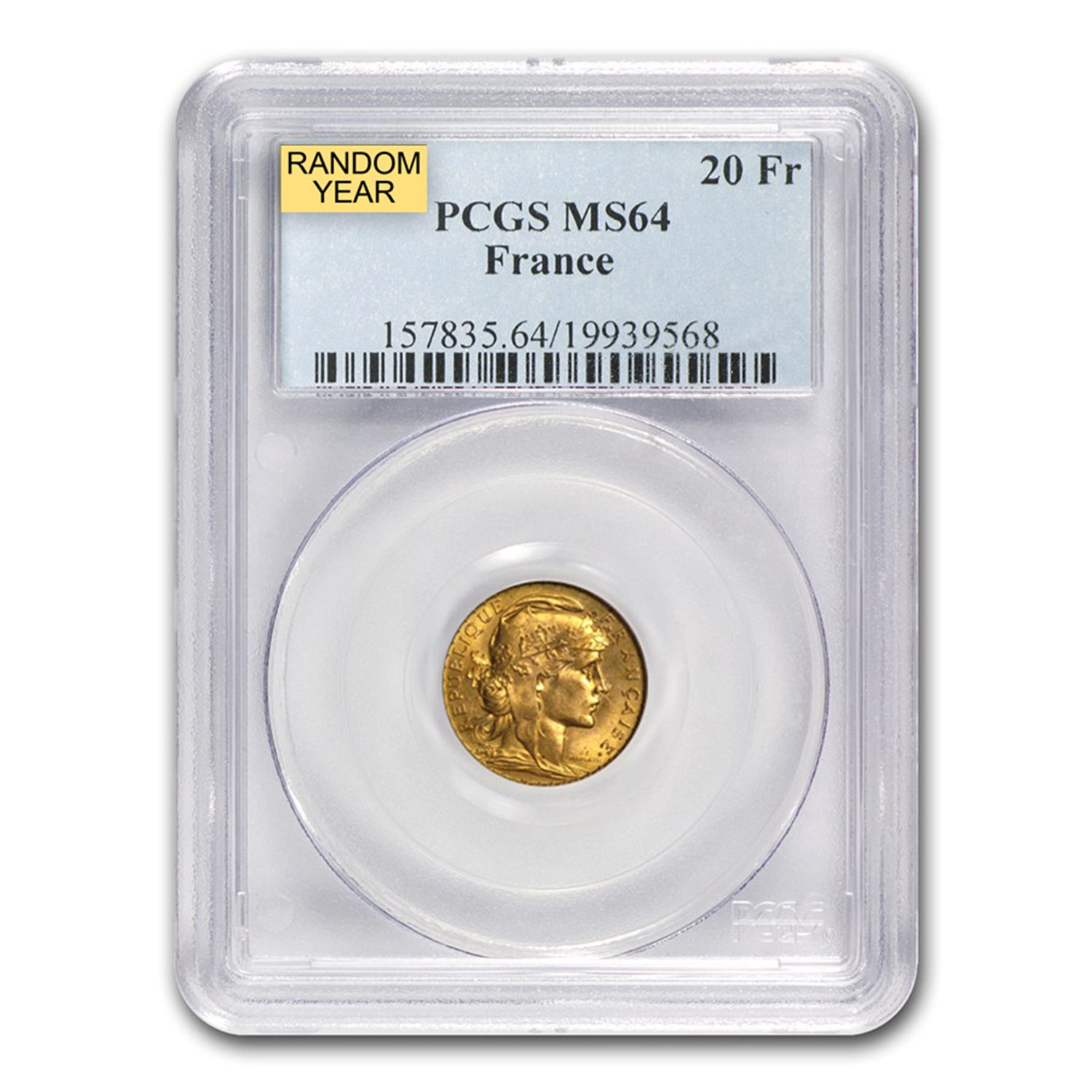 1899-1914 France Gold 20 Francs Rooster MS-64 NGC/PCGS