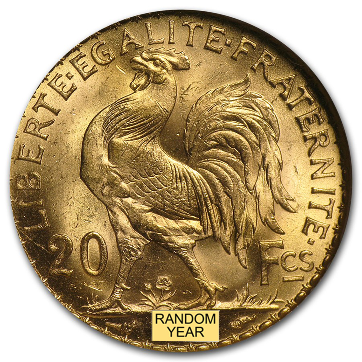 France Gold 20 Francs (Rooster) (NGC MS-64)