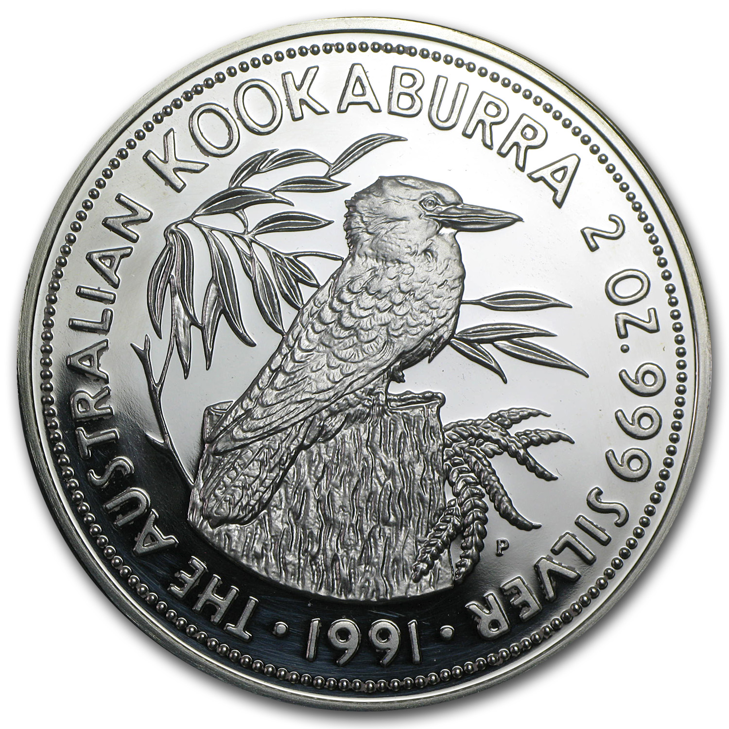 1991 2 oz Proof Silver Australian Kookaburra (Light Abrasions)
