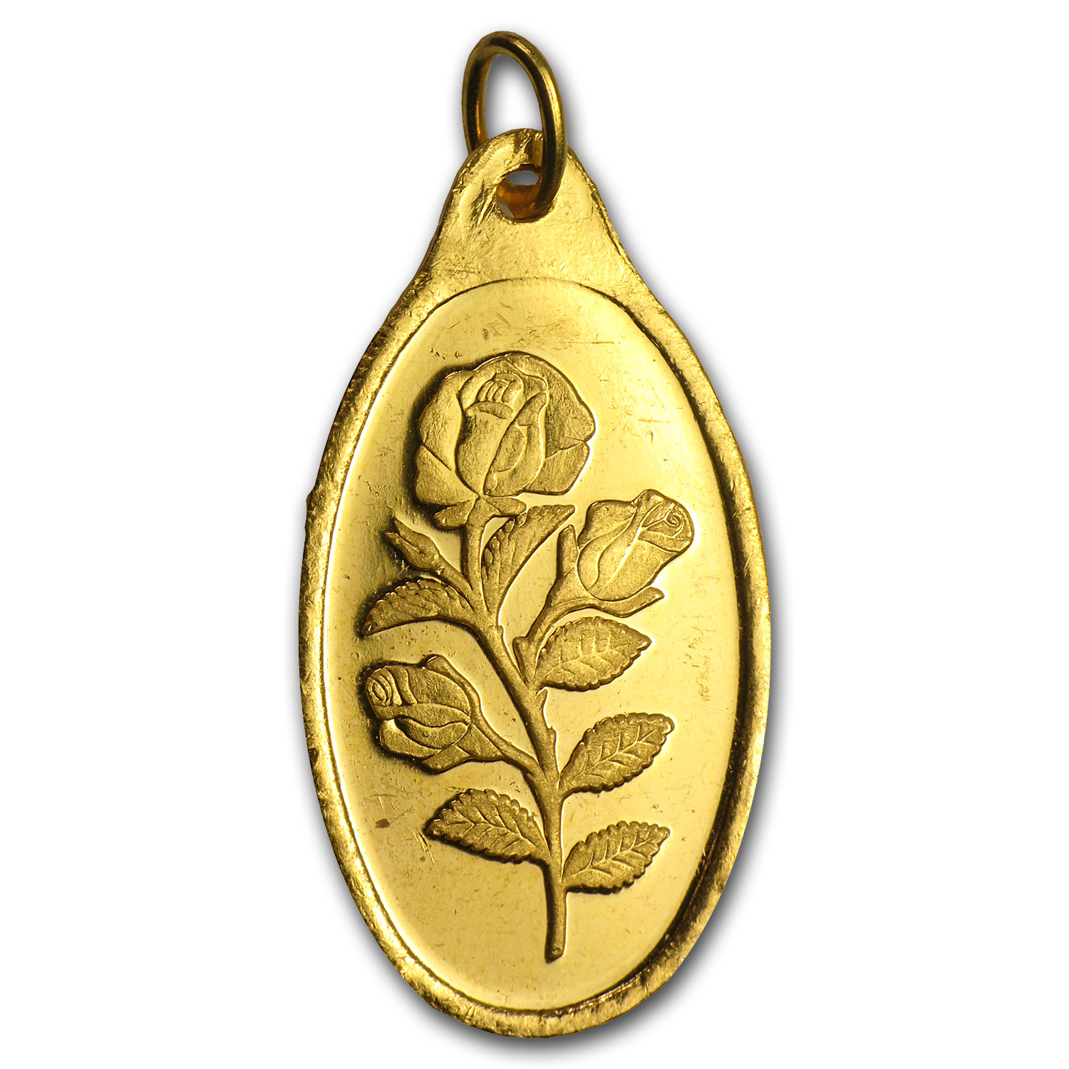 10 gram Gold Pendants - Pamp Suisse (Rose Oval, Scruffy)