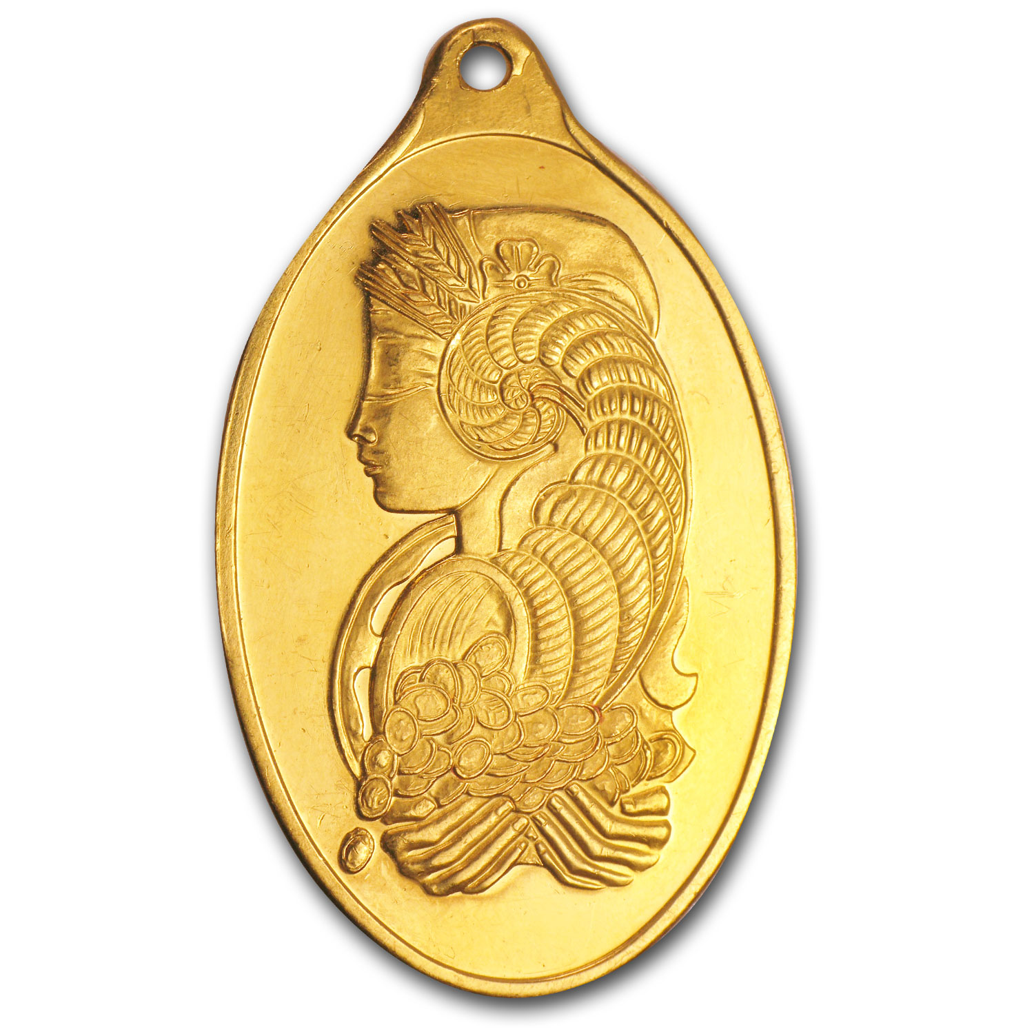 1 oz Gold Pendant - PAMP Suisse (Fortuna, Oval, Scruffy)