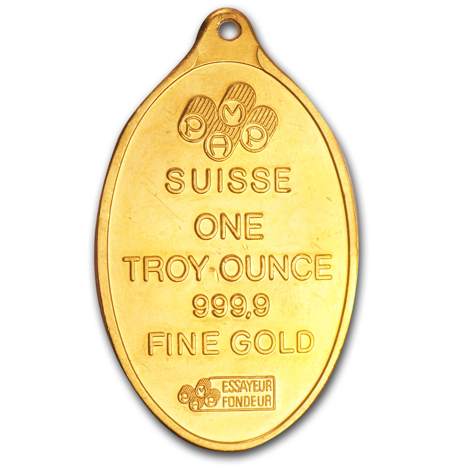 1 oz Gold Pendants - Pamp Suisse (Fortuna, Oval, Scruffy)
