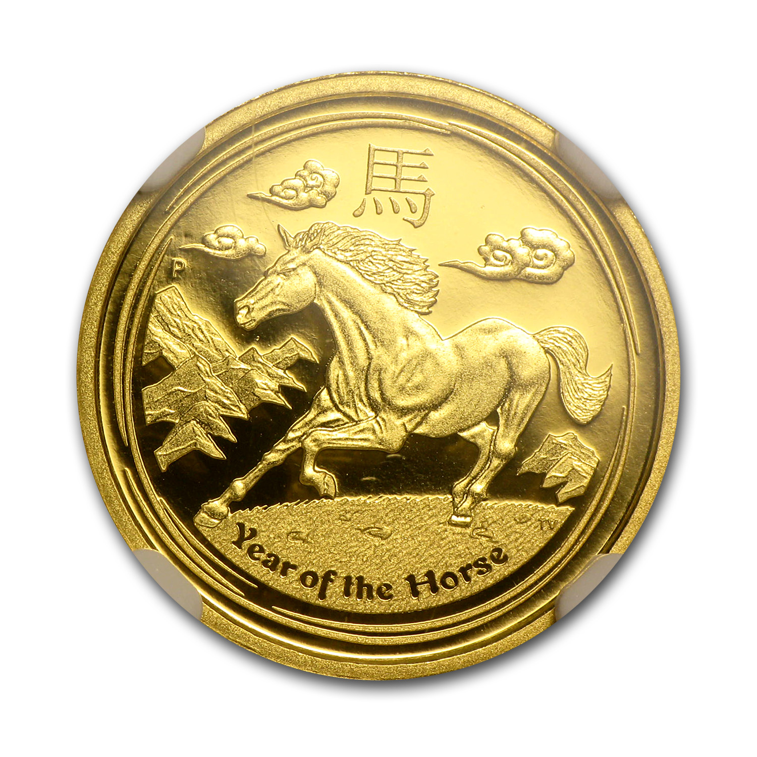 2014 1/10 oz Proof Gold Lunar Year of the Horse (SII) PF-70 NGC