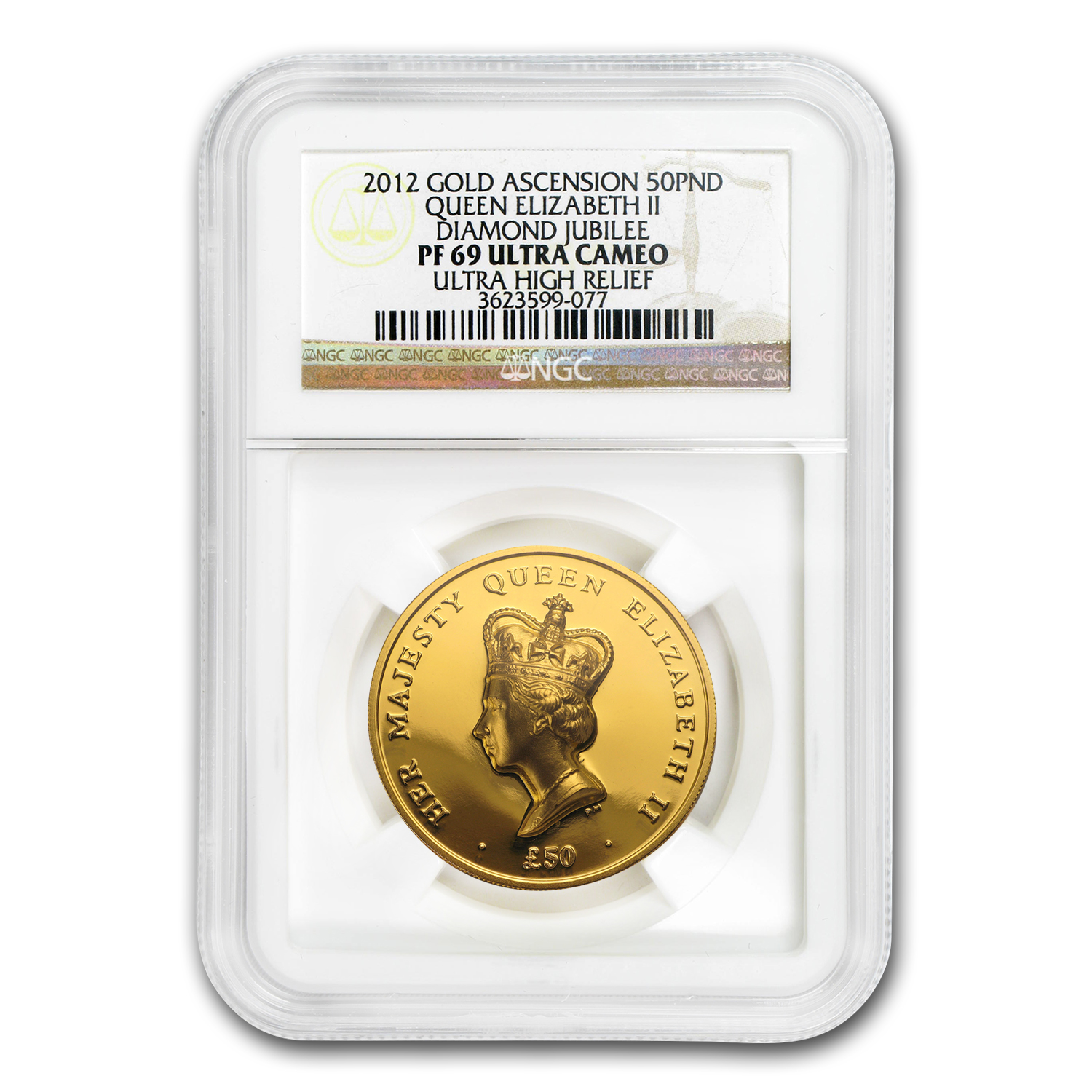 2012 Ascension Island Gold £50 PF-69 NGC (Ultra High Relief)