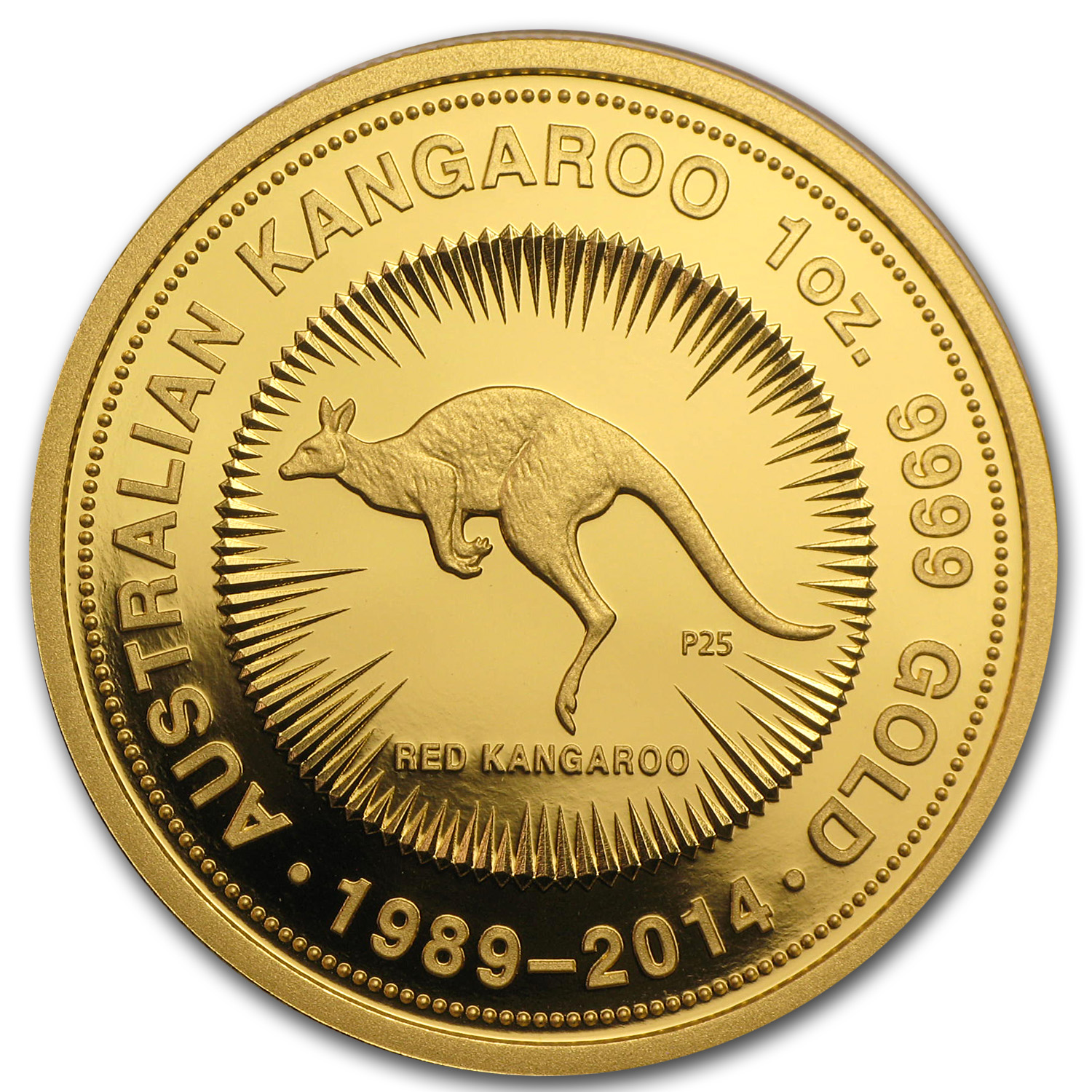 2014 1 oz Australian Proof Gold Kangaroo (25th Anniversary)