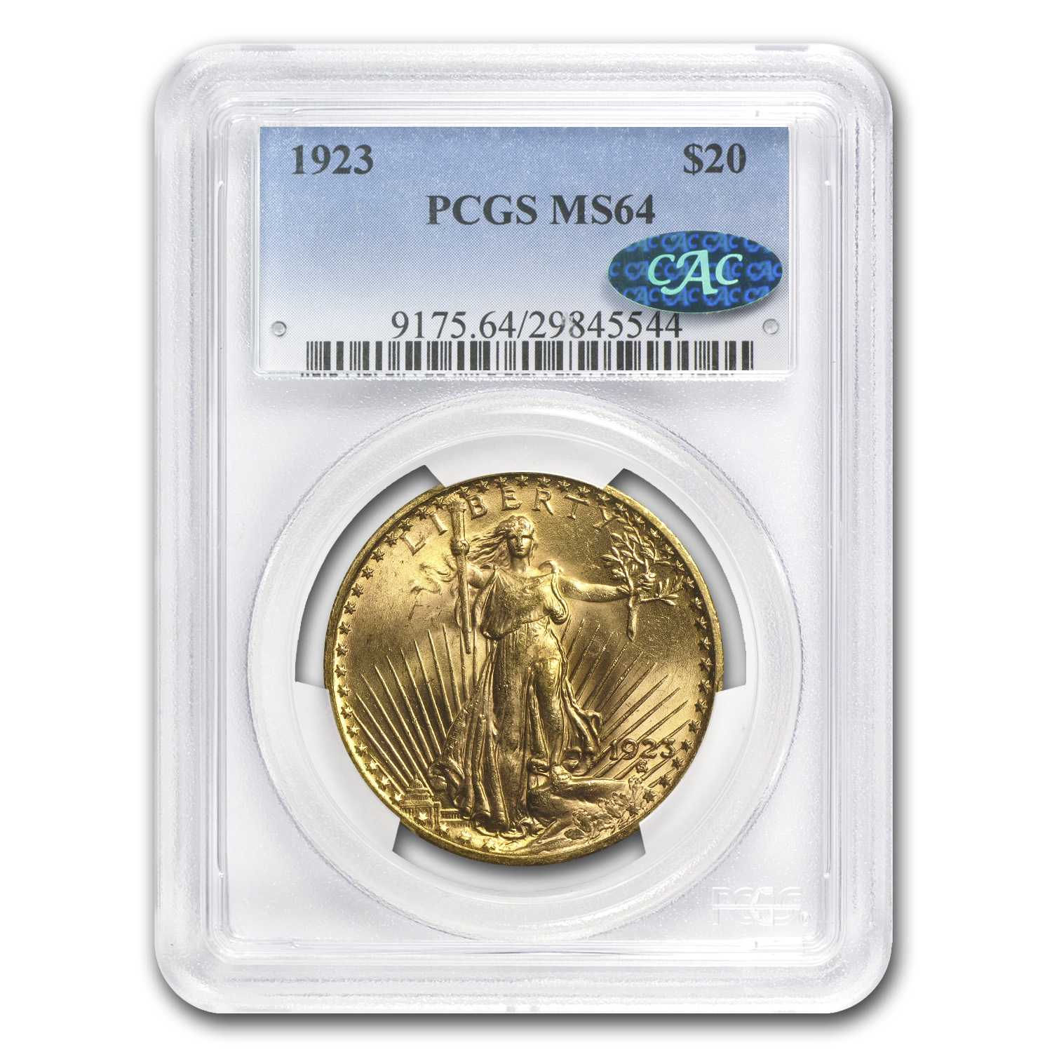 1923 $20 St. Gaudens Gold Double Eagle MS-64 PCGS (CAC)