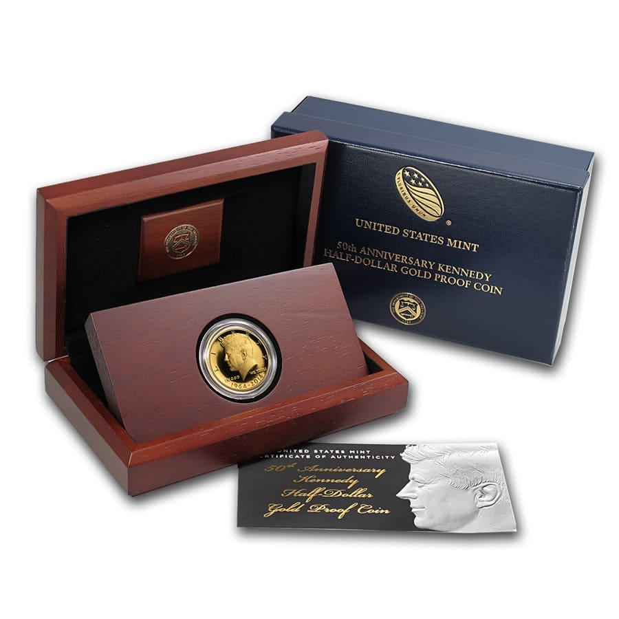 2014-W 3/4 oz Gold Kennedy 1/2 Dollar Commem Proof (w/Box & COA)