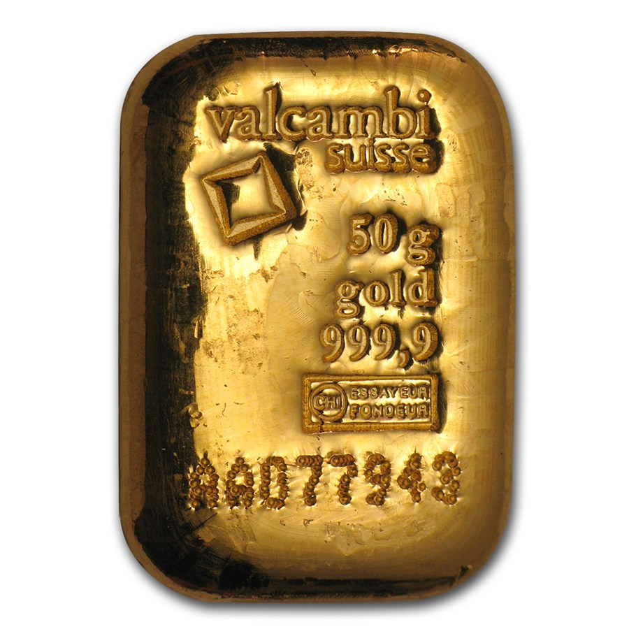 50 Gram Gold Bar Valcambi Poured W Assay Valcambi