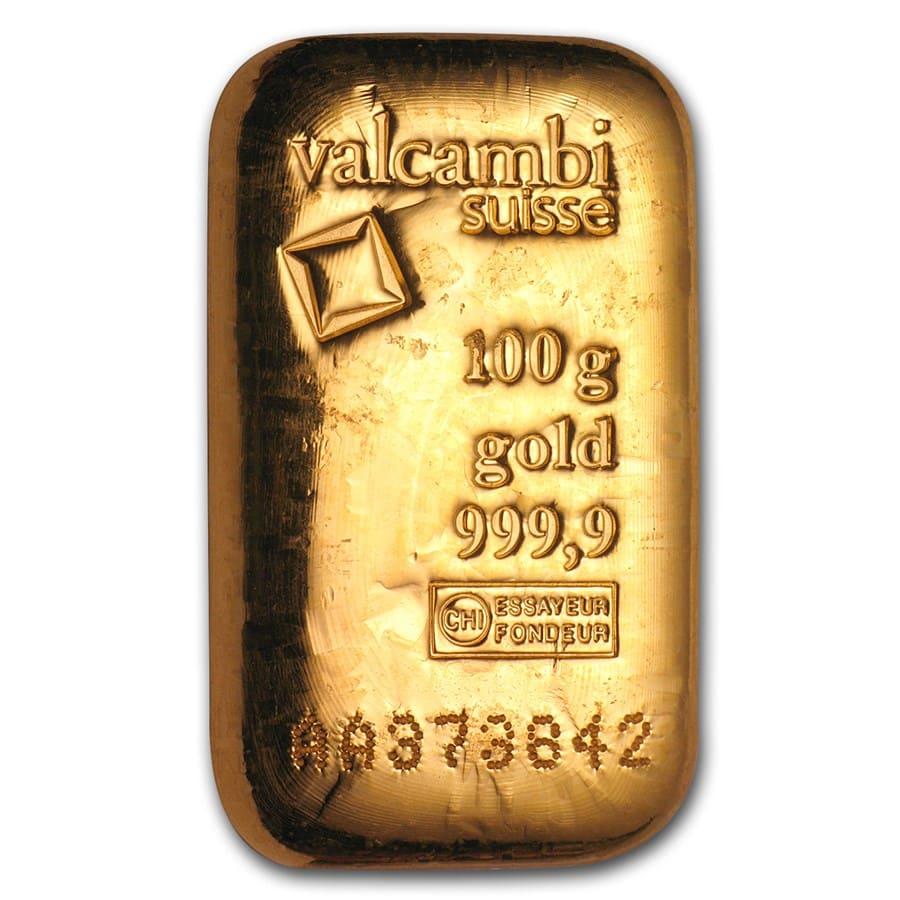 100 Gram Gold Bar Valcambi Poured W Assay Valcambi