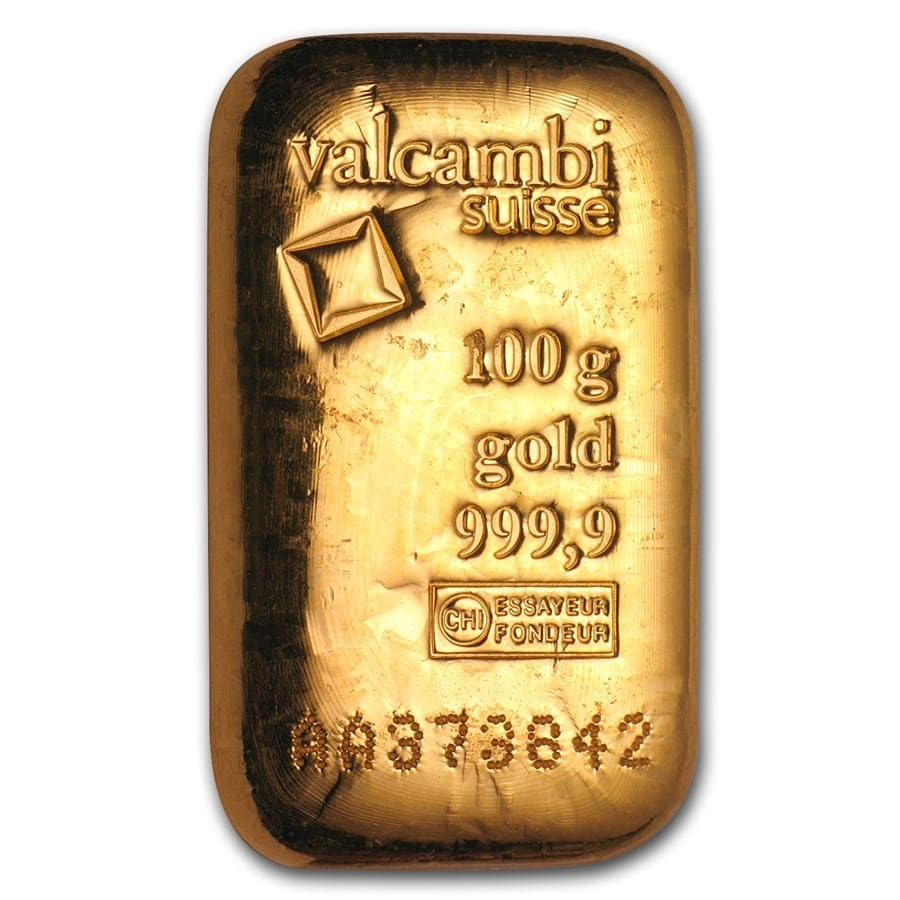 100 Gram Gold Bar Valcambi Poured W Assay Valcambi