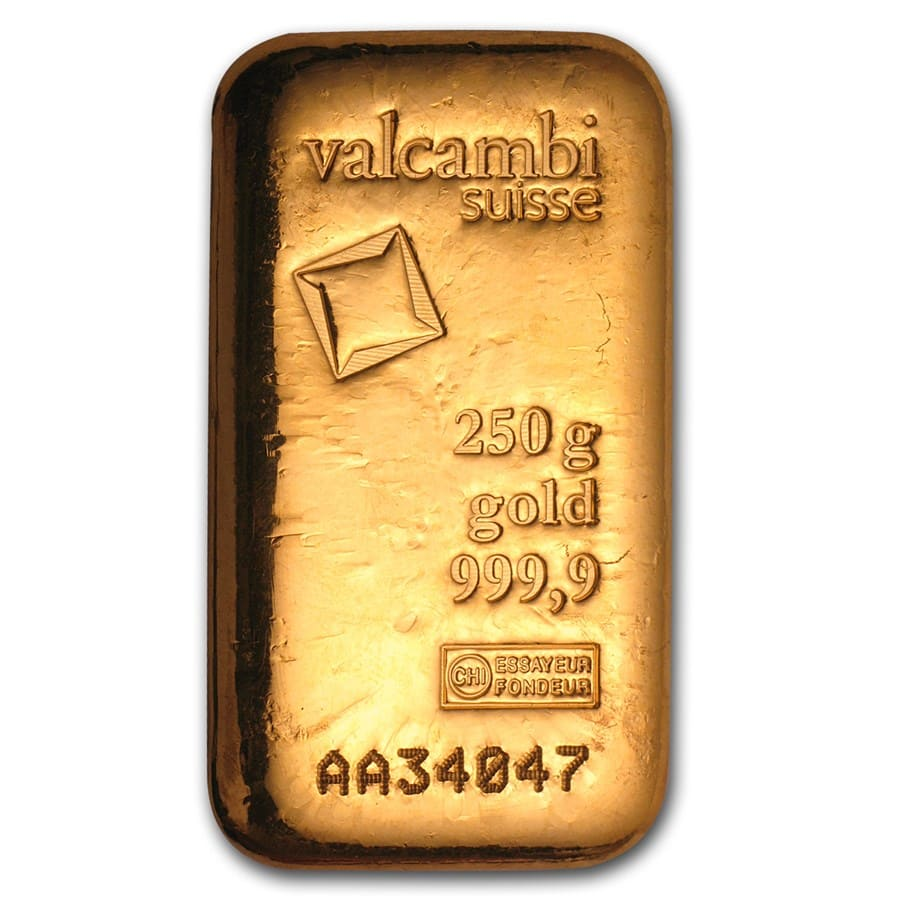 250 Gram Gold Bar Valcambi Poured W Assay Valcambi