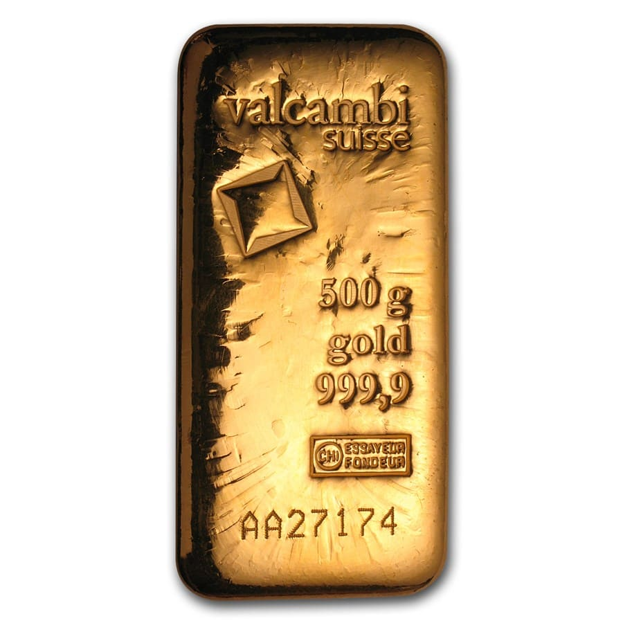 500 gram Gold Bar - Valcambi (Poured w/Assay)