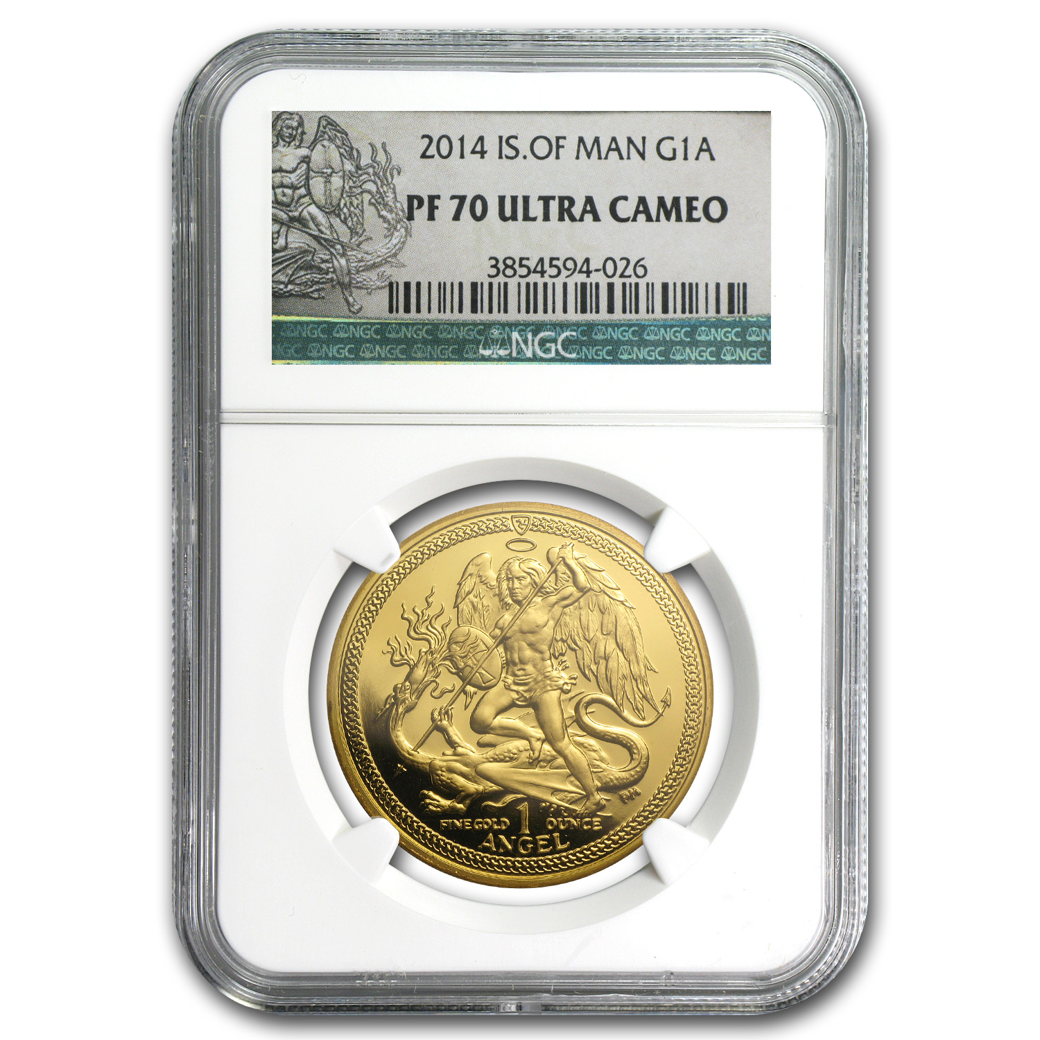 2014 Isle of Man Proof Gold Angel PF-70 NGC