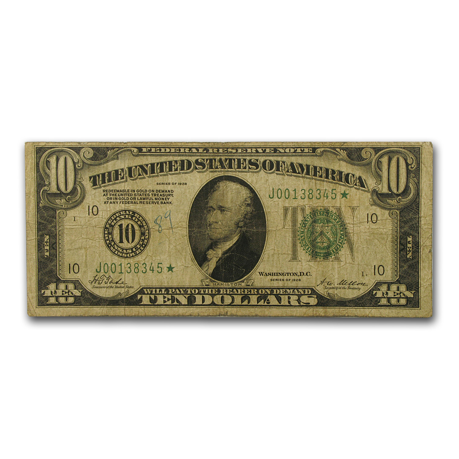 1928 (J-Kansas City) $10 FRN - STAR NOTE (VG+ )