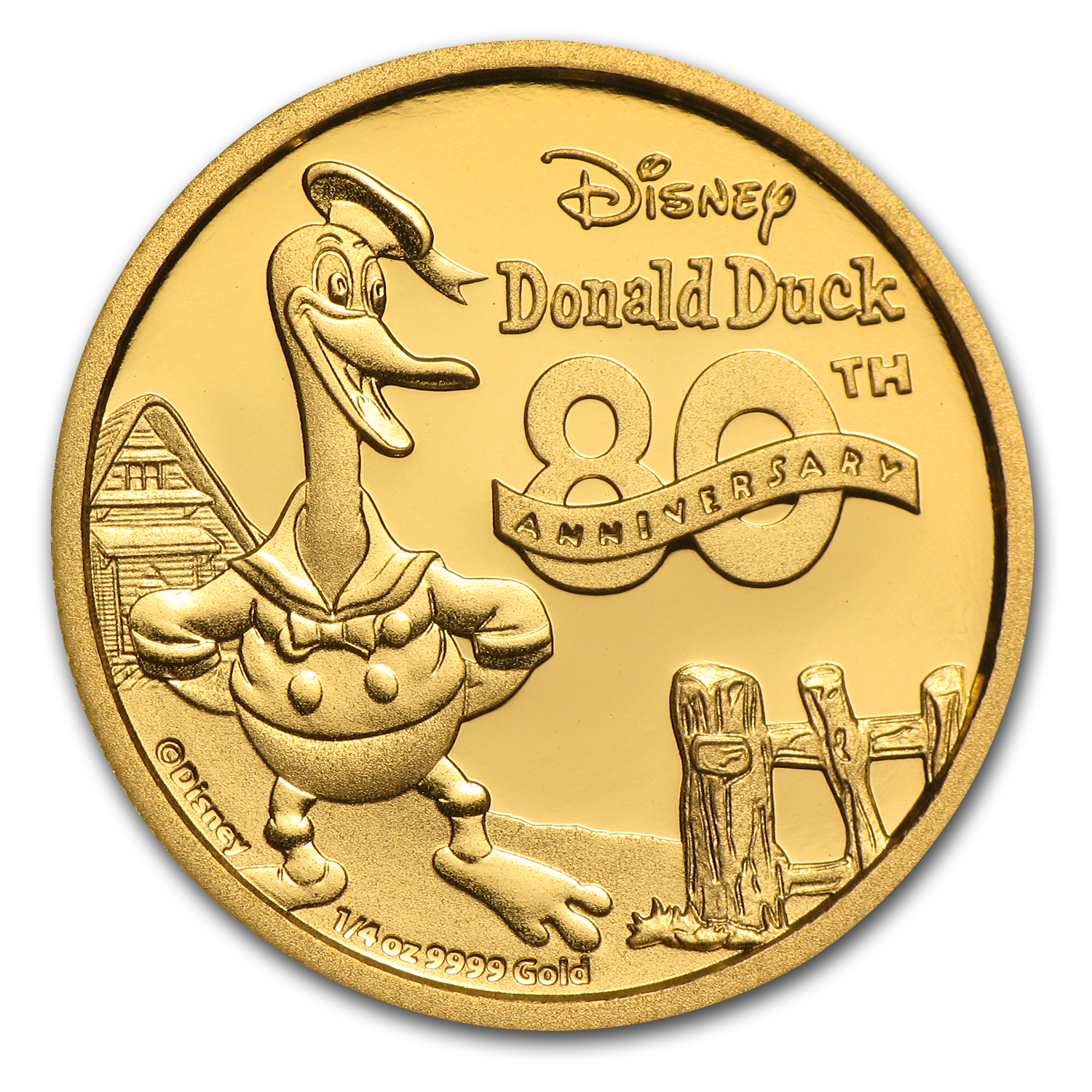 2014 Niue 1/4 oz Proof Gold $25 Disney Donald Duck