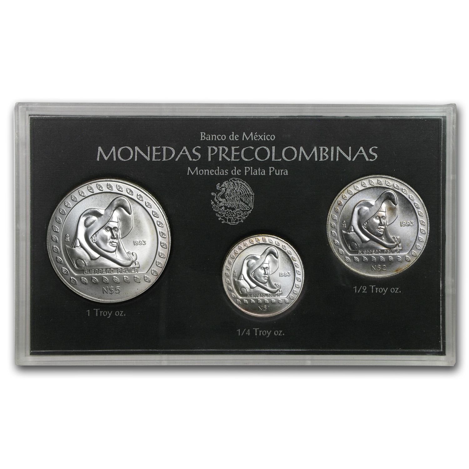 1993 3-Coin Mexican Guerrero Aguila Silver Set (Sealed)