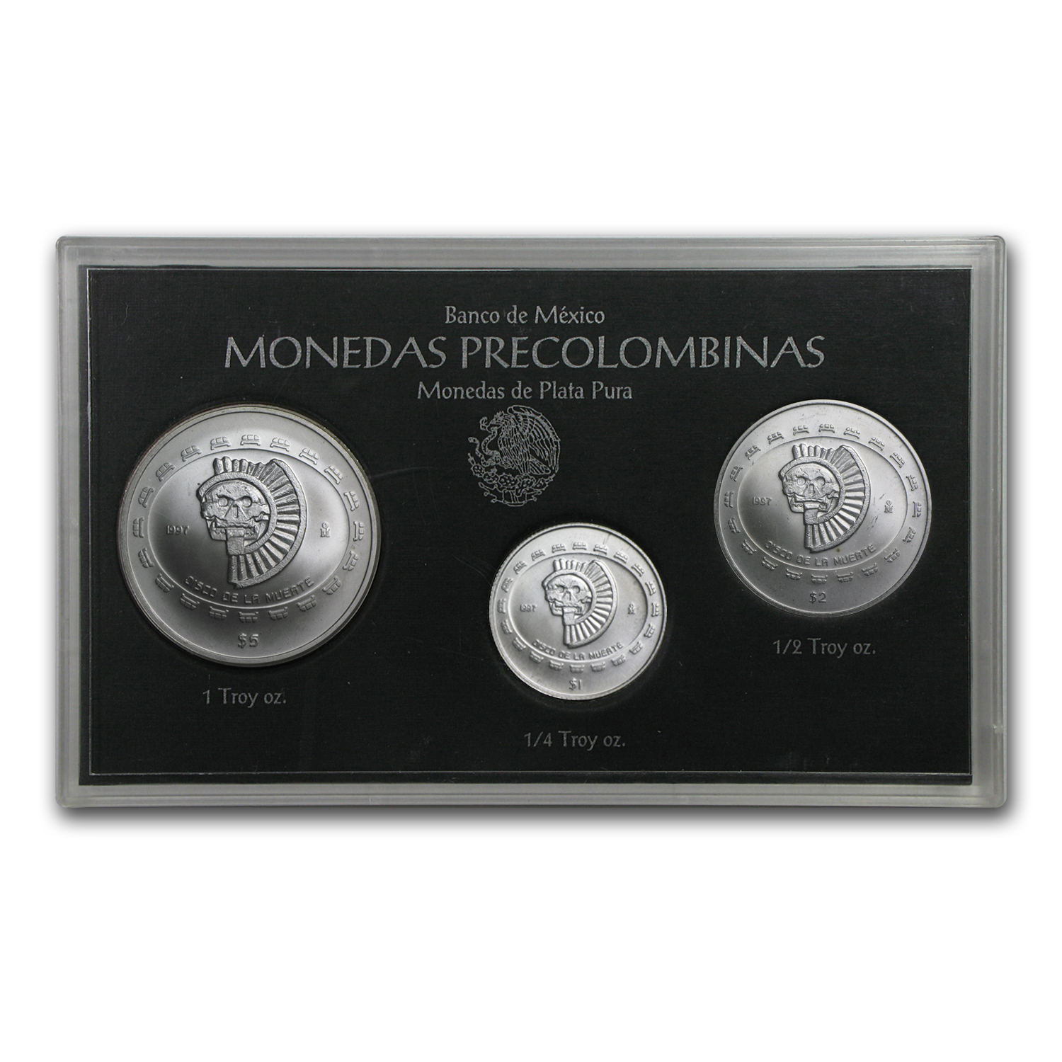 1997 Mexico 3-Coin Silver Disco De La Mueate Set BU (Sealed)