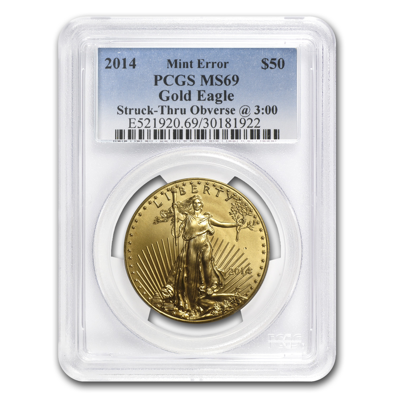 "2014 1 oz Gold Eagle Mint Error PCGS MS-69 ""Obv Struck Thru"""