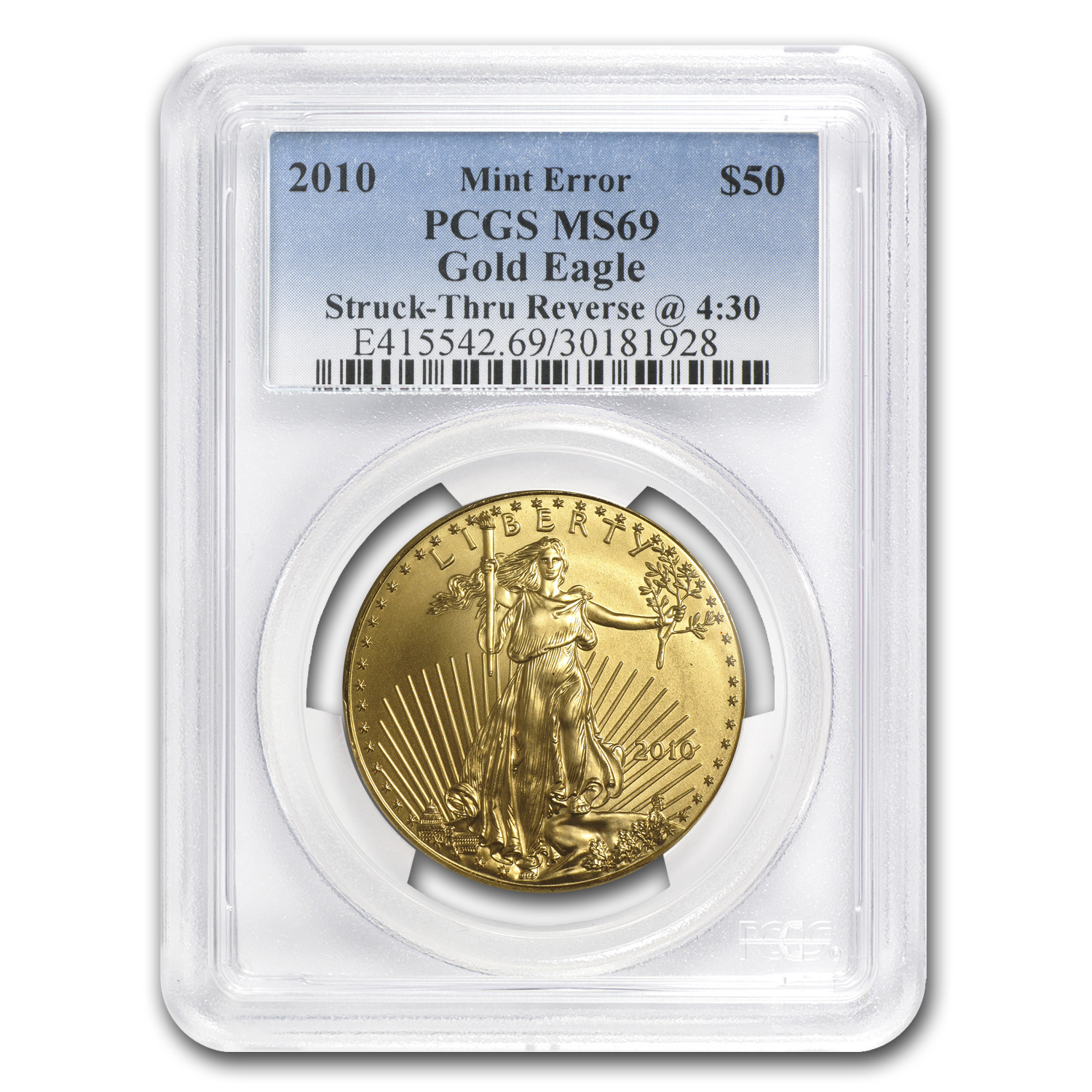 "2010 1 oz Gold Eagle Mint Error PCGS MS-69 ""Rev Struck Thru"""