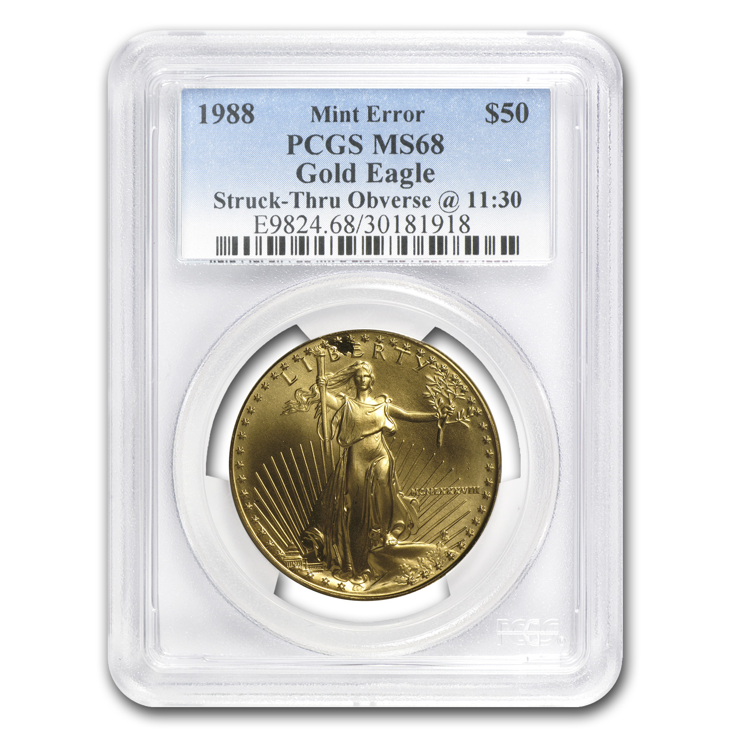 "1988 1 oz Gold Eagle Mint Error PCGS MS-68 ""Obv Struck Thru"""