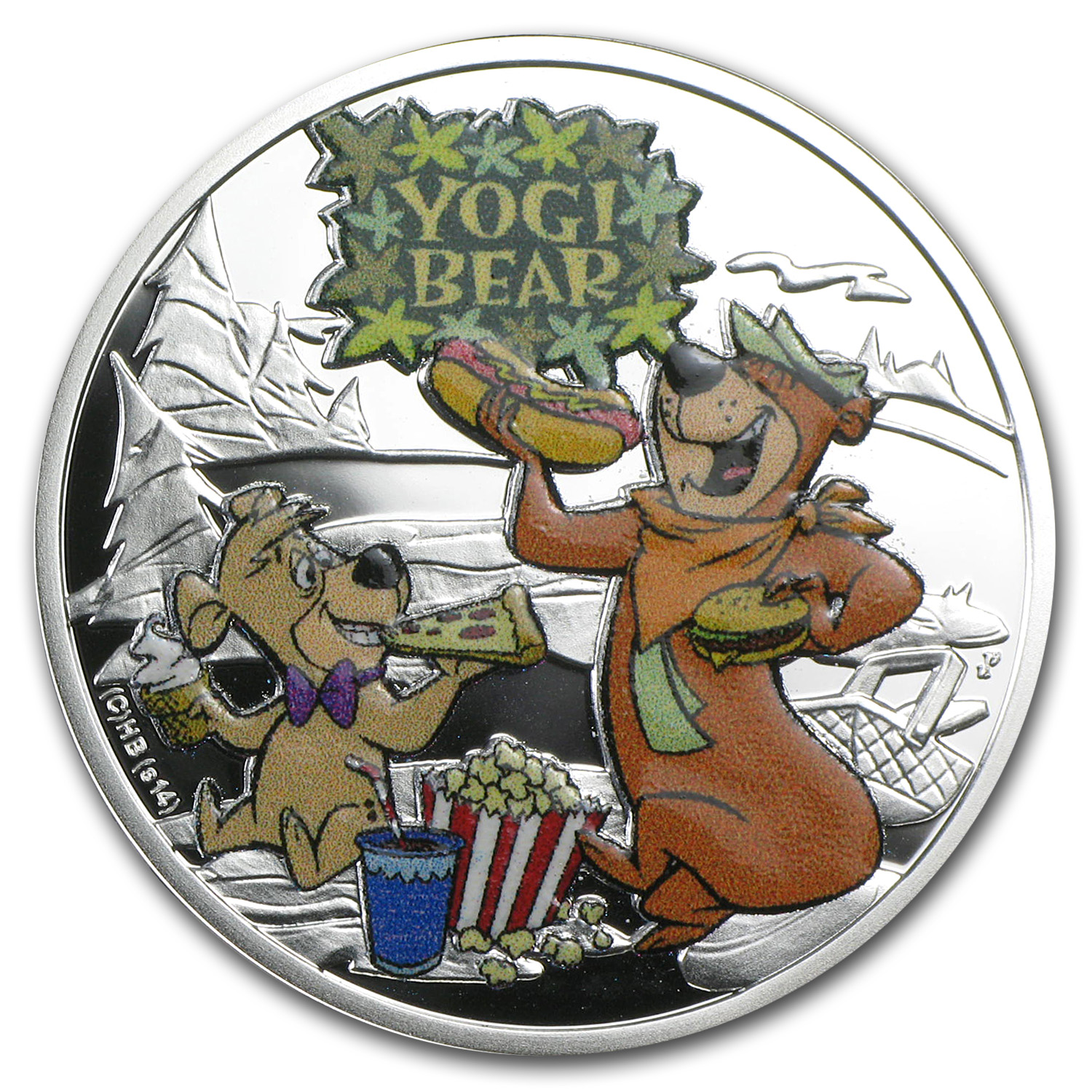 2014 Niue Proof Silver $1 Cartoon Characters Yogi Bear