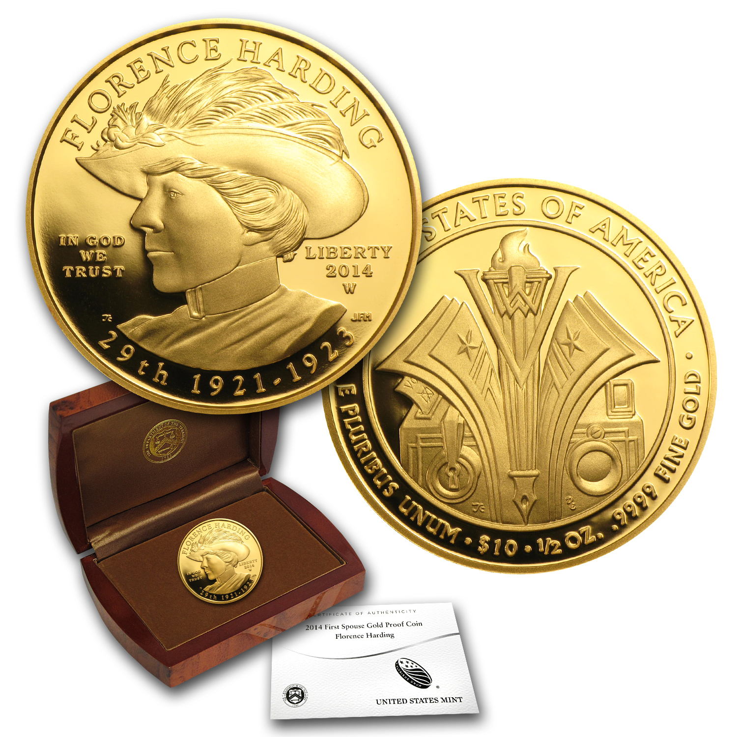 2014-W 1/2 oz Proof Gold Florence Harding (w/Box & COA)