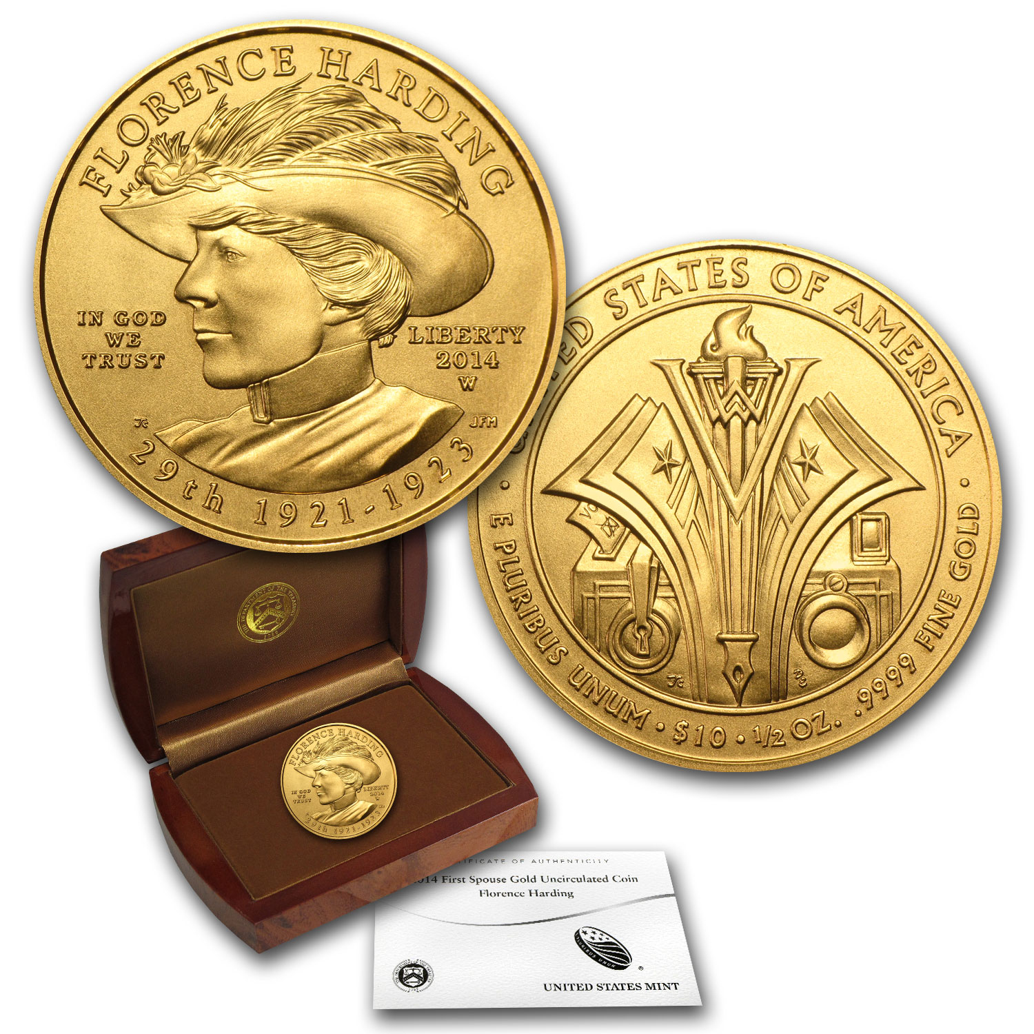 2014-W 1/2 oz Uncirculated Gold Florence Harding (w/Box & CoA)