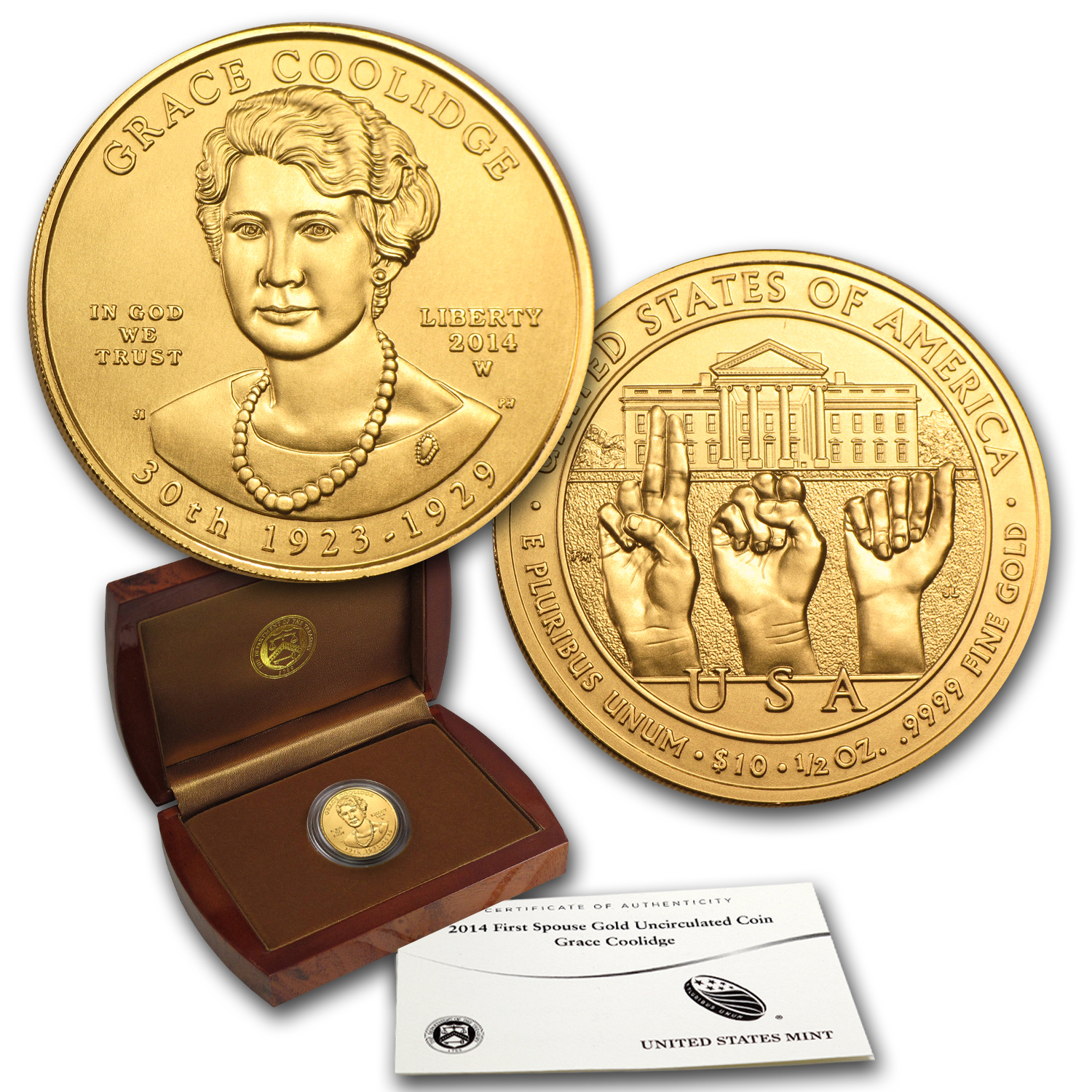 2014-W 1/2 oz Gold Grace Coolidge BU (w/Box & COA)