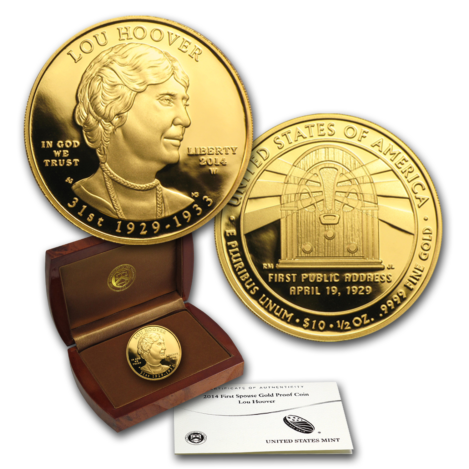 2014-W 1/2 oz Proof Gold Lou Hoover (w/Box & COA)