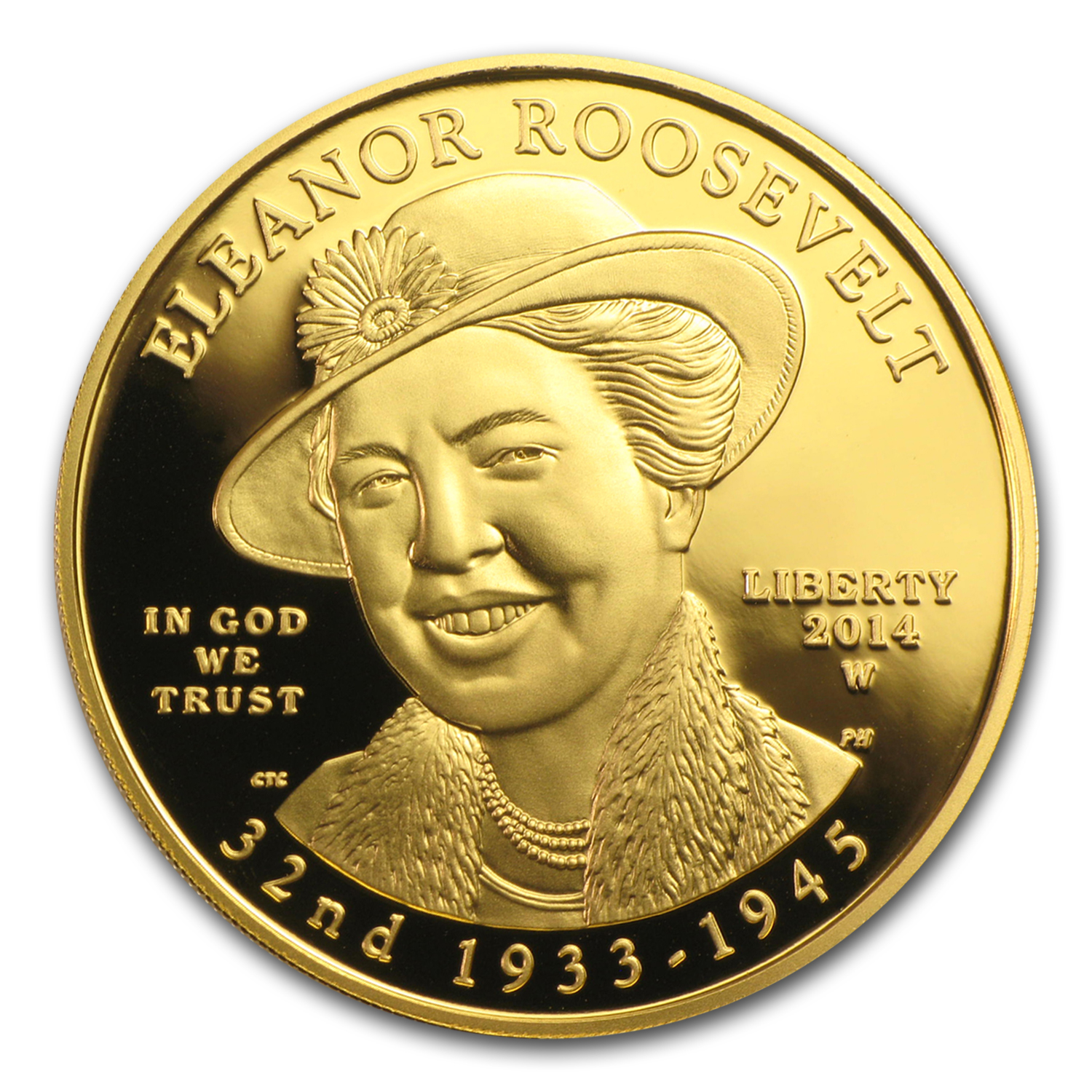 2014-W 1/2 oz Proof Gold Eleanor Roosevelt (w/Box & COA)