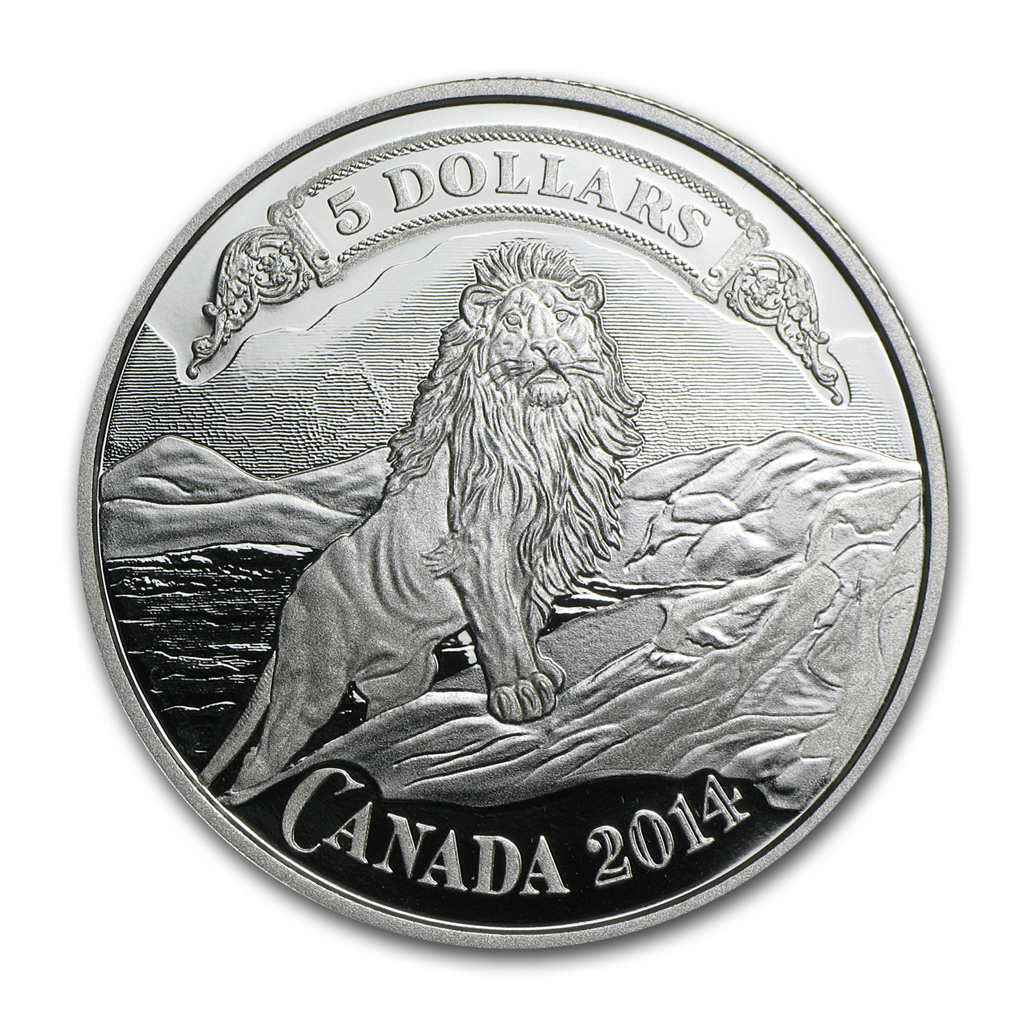 2014 Silver $5 Bank Notes Series Lion on the Mountain Proof