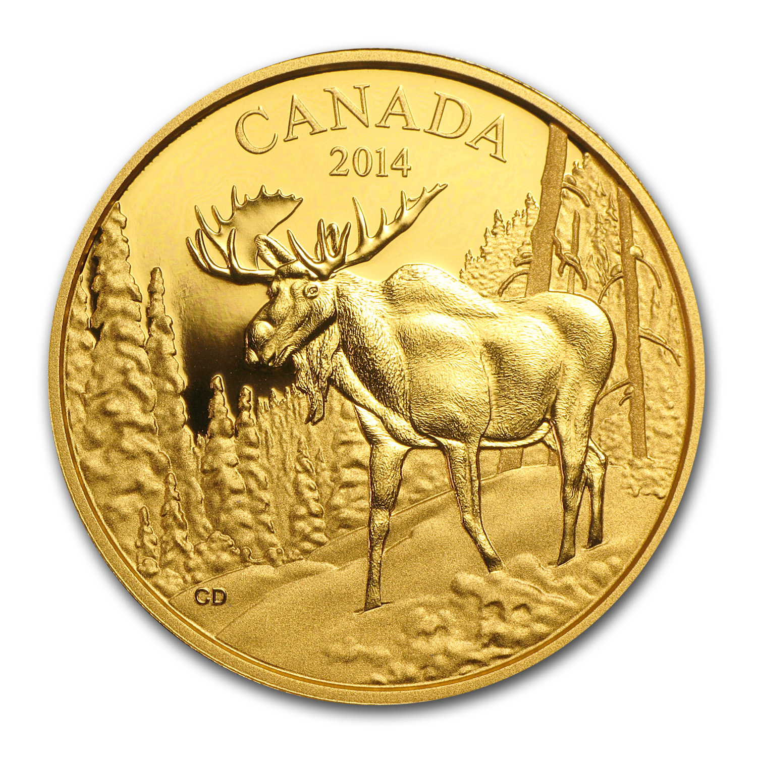 2014 1.12 oz Gold Canadian $350 Coin The Majestic Moose