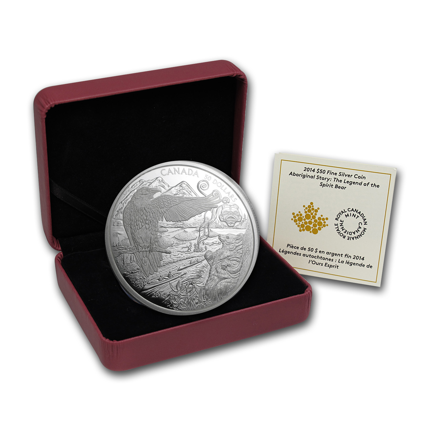 2014 Canada 5 oz Silver $50 An Aboriginal Story Spirit Bear