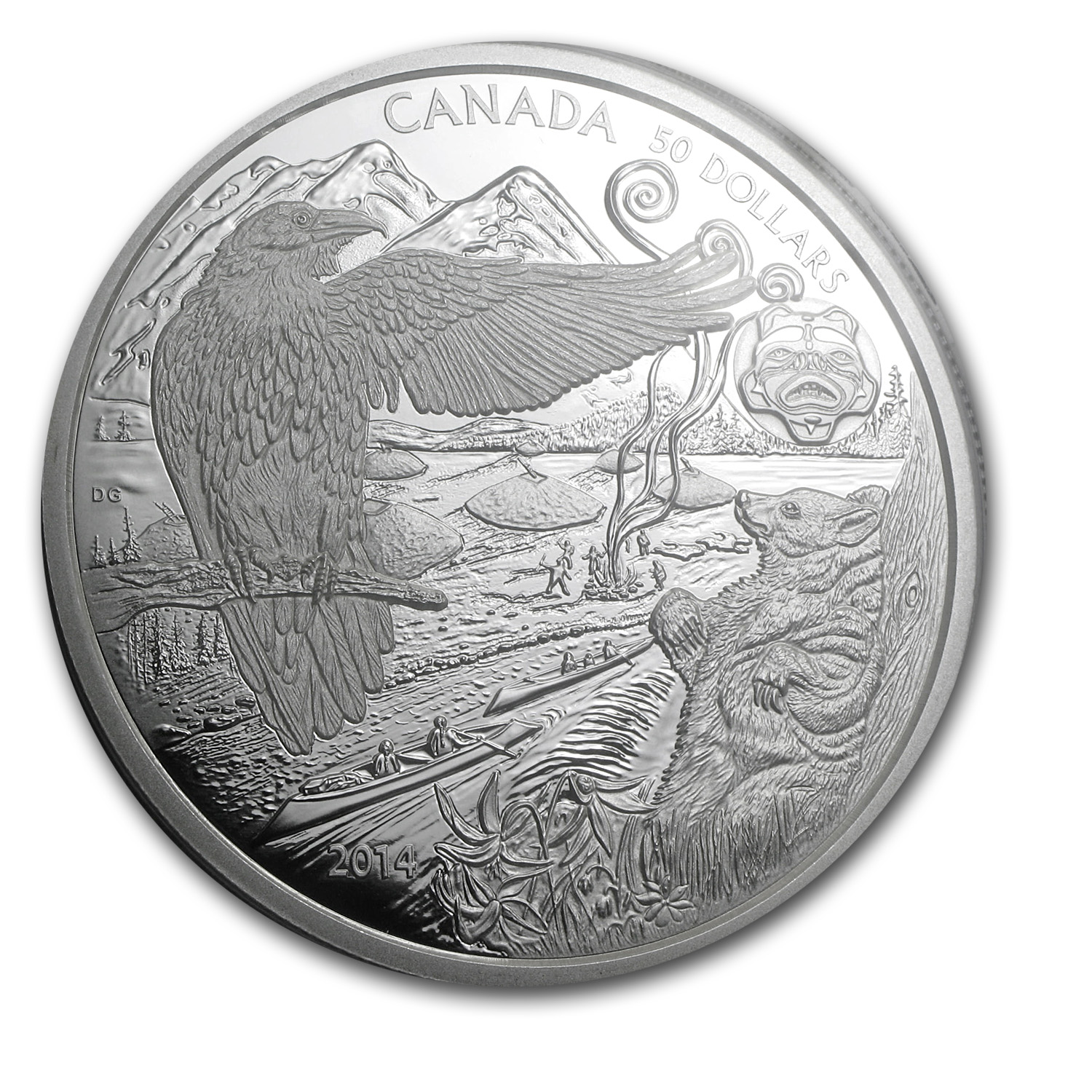 2014 5 oz Silver Canadian $50 An Aboriginal Story Spirit Bear