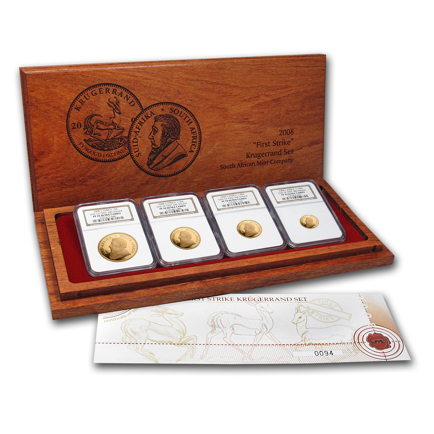 2008 South Africa 4-Coin Gold Krugerrand Proof Set PF-70 NGC