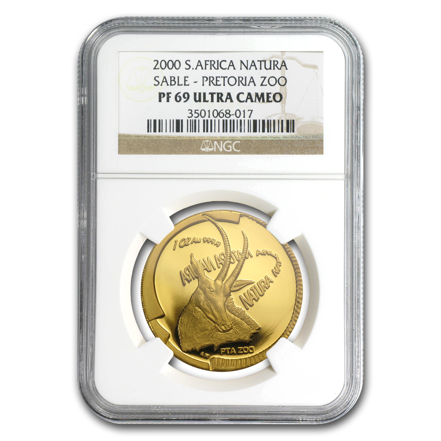 2000 1 oz Gold South African Natura 100 Rand Sable PF-69 NGC