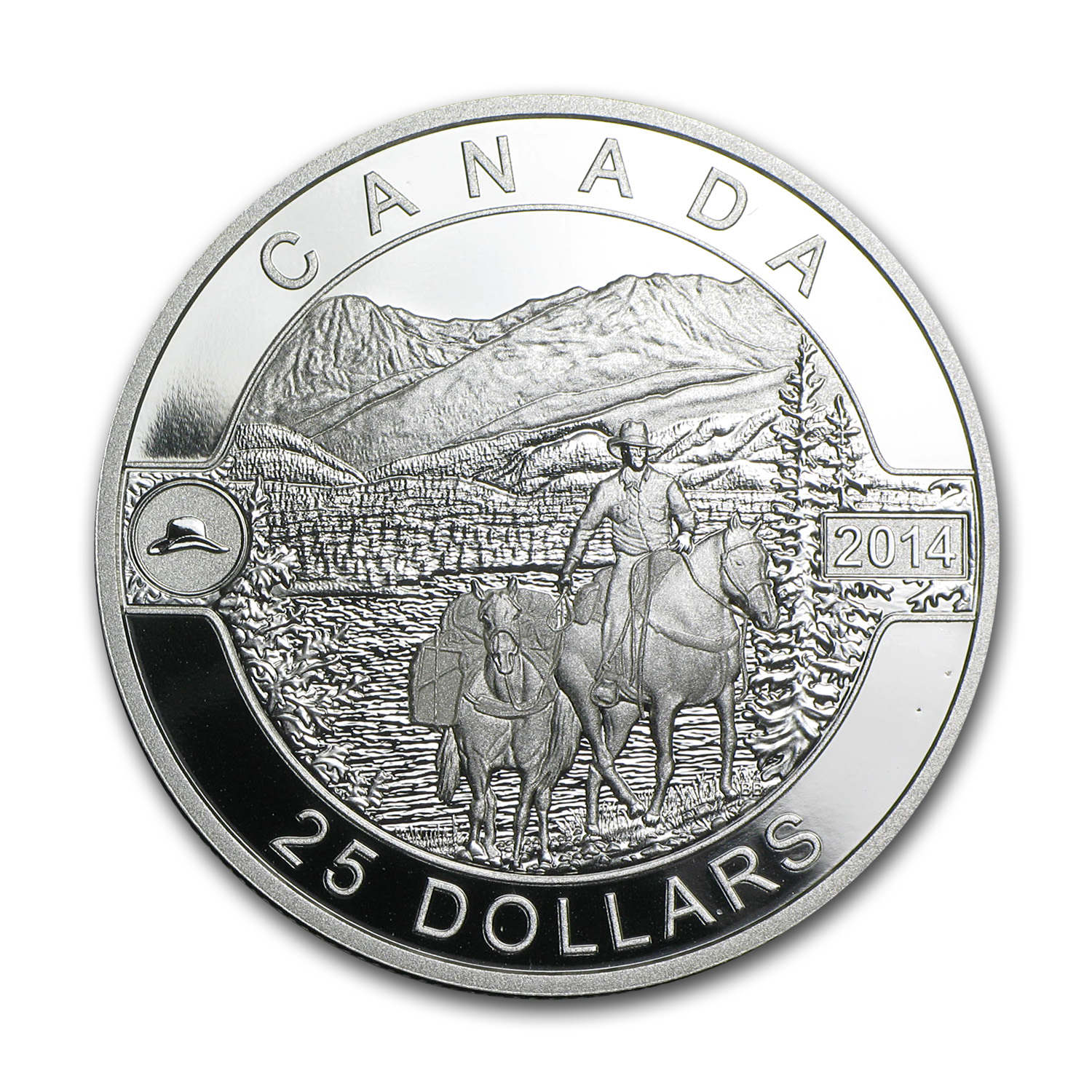 2014 1 oz Silver Canadian $25 Cowboy in the Canadian Rockies